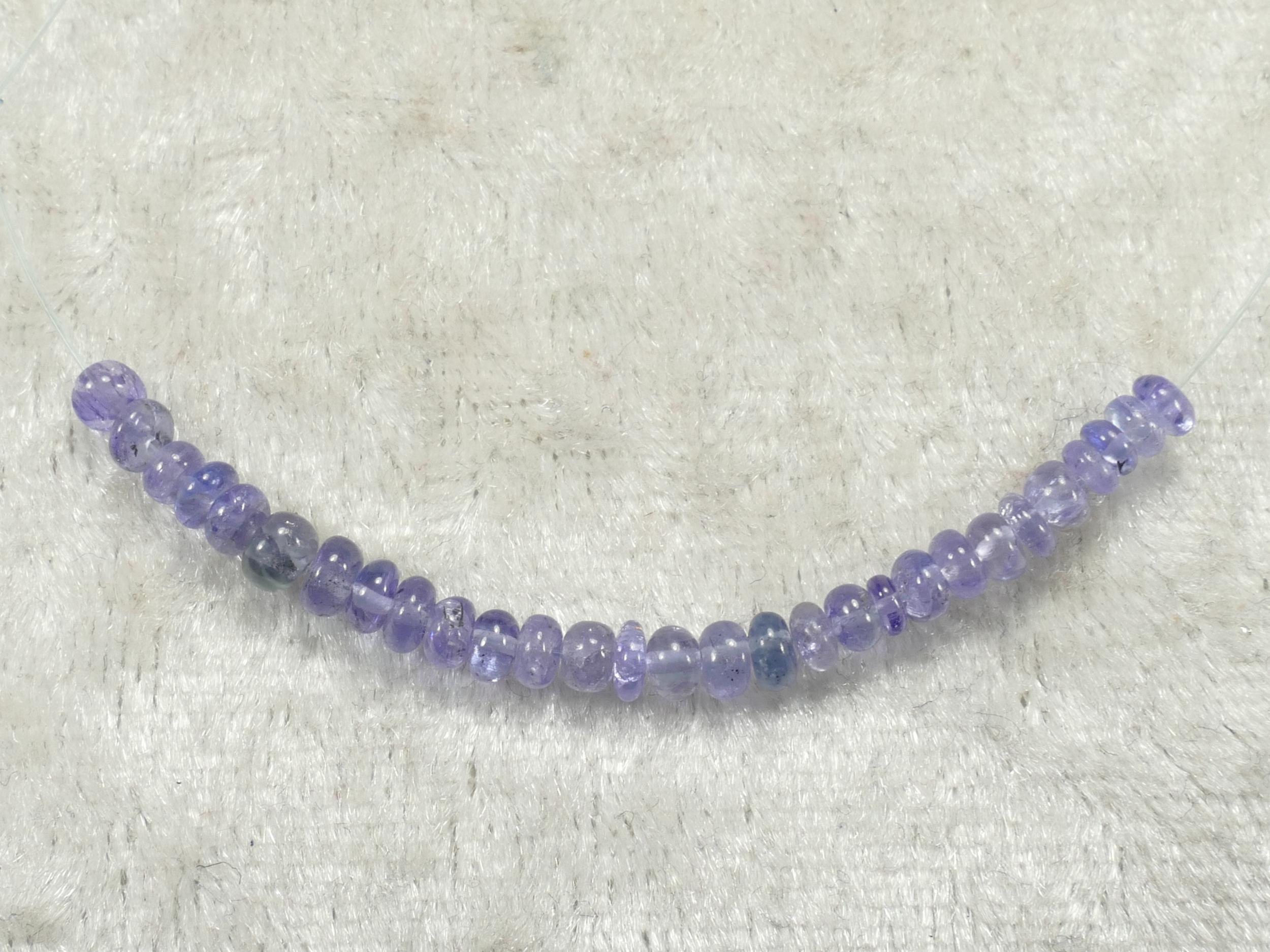 2.7/3.4mm Perles de Tanzanite naturelle en rondelle lisse de Tanzanie 5cm (#PK808)