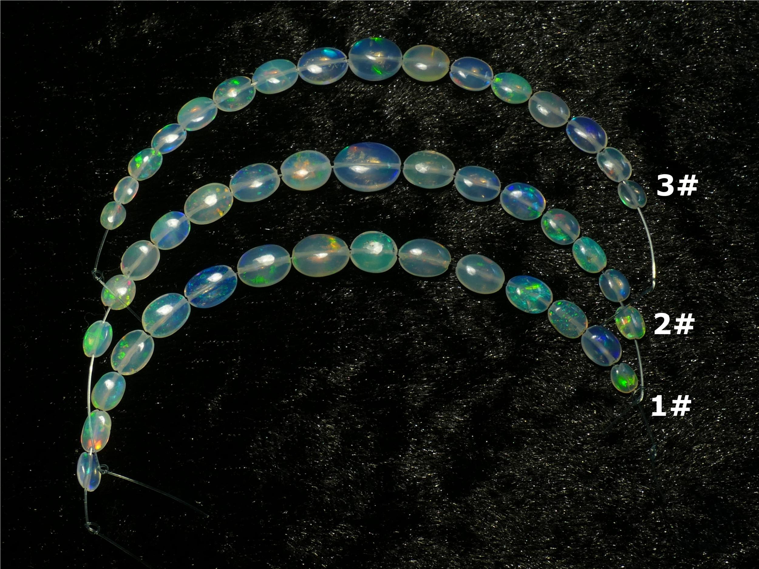 x10cm (3.9inch) Perle d\'Opale noble naturelle d\'Ethiopie en ovale plat lisse (#PM255)