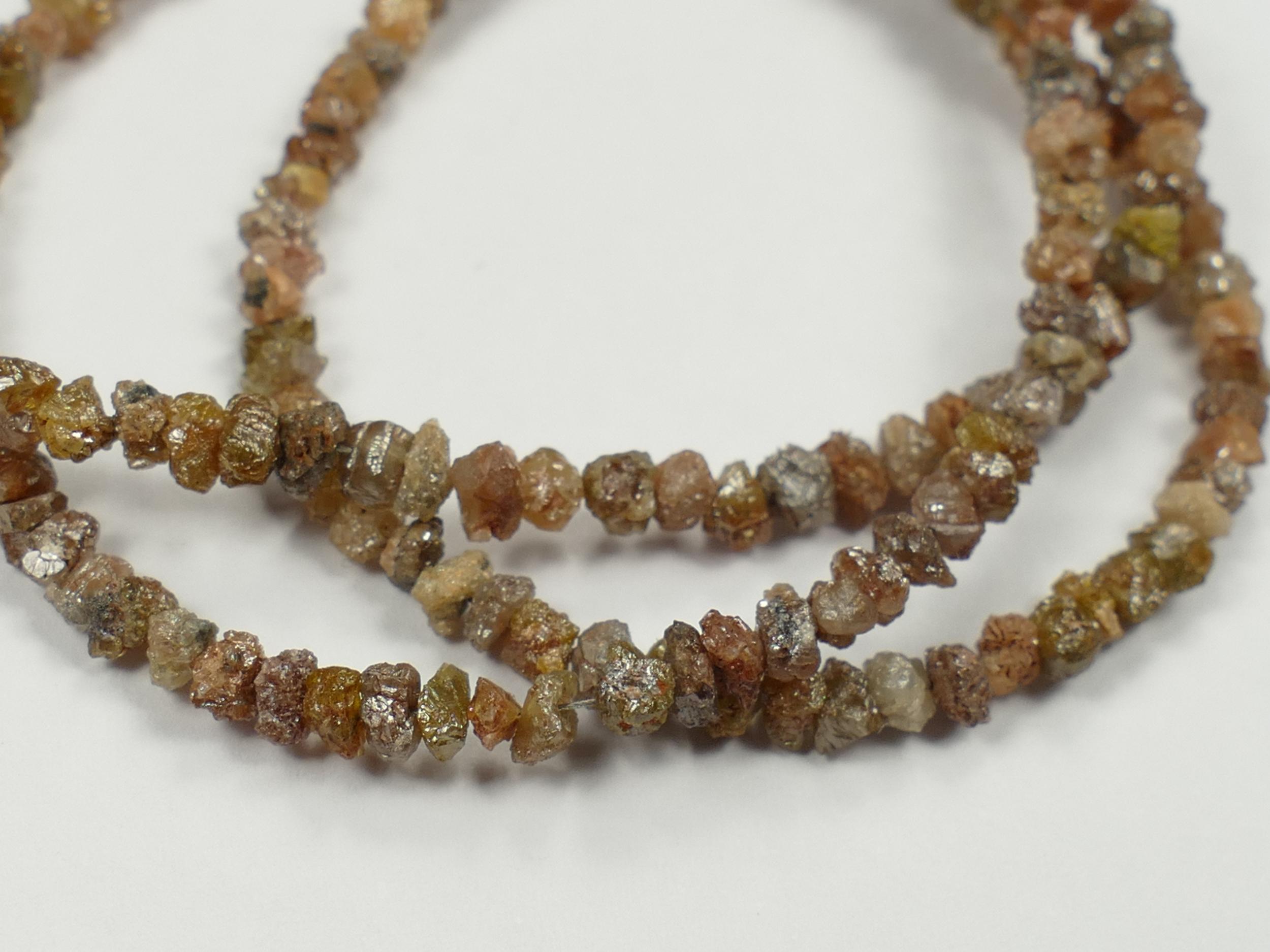 2.6/3.5mm Perles de Diamant rouge brun gris naturel brut percée x3cm (1.2inch) (#AC398)