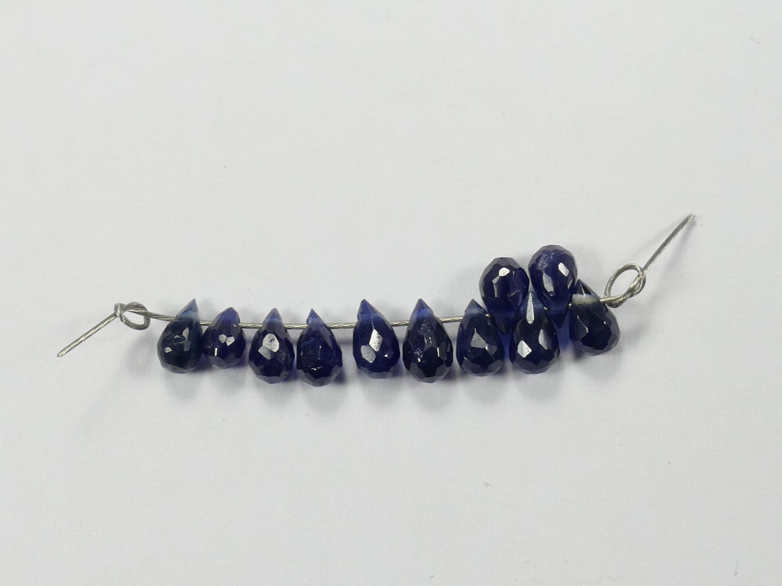 Lot de 11 petites perles de Saphir précieux naturel 2.64ct briolette larme facetté Thaïlande (#PM149)
