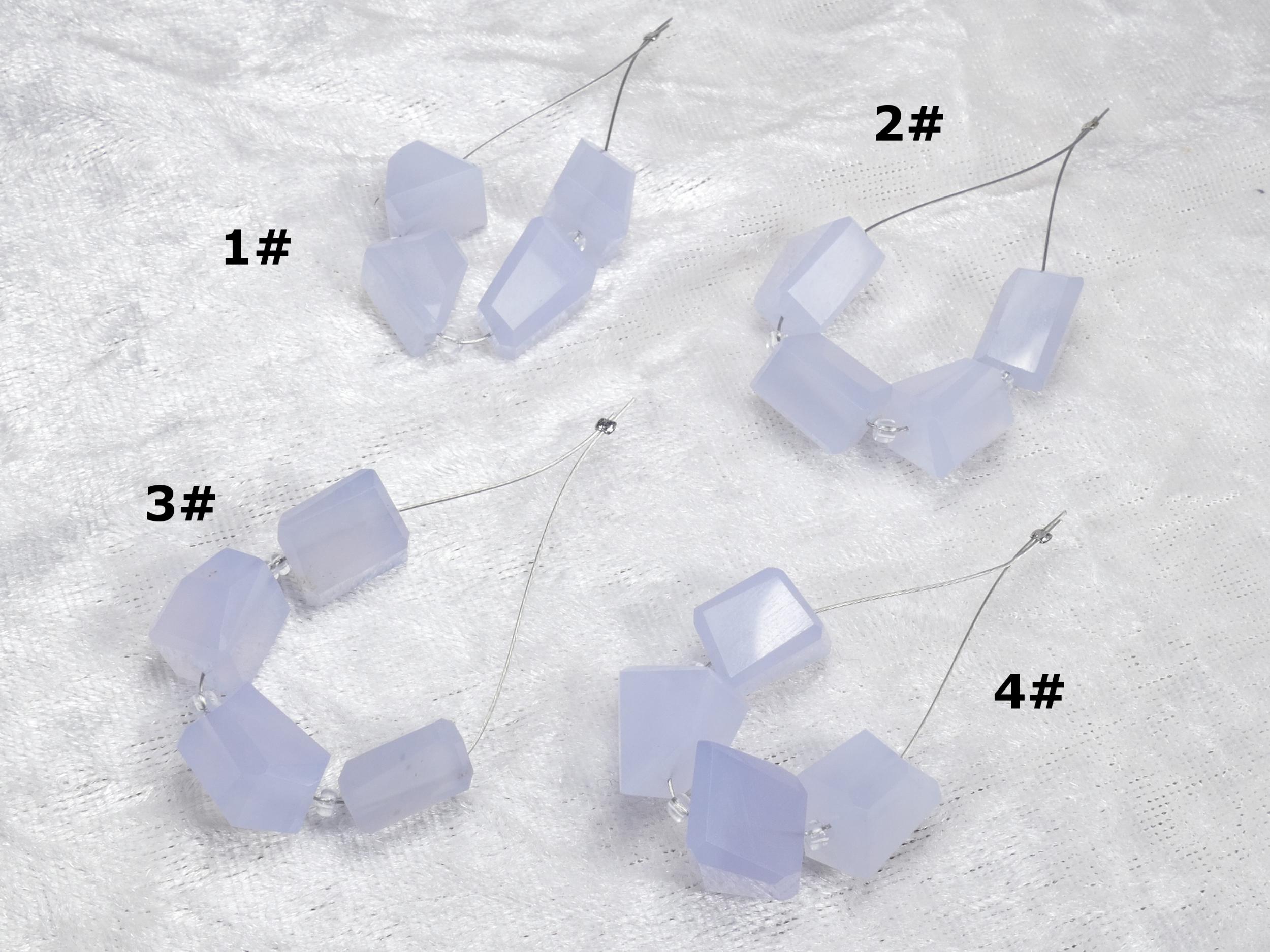 Lot 4 perles de Calcédoine bleue naturelle précieuse de Turquie pépite facettée (#PM258)