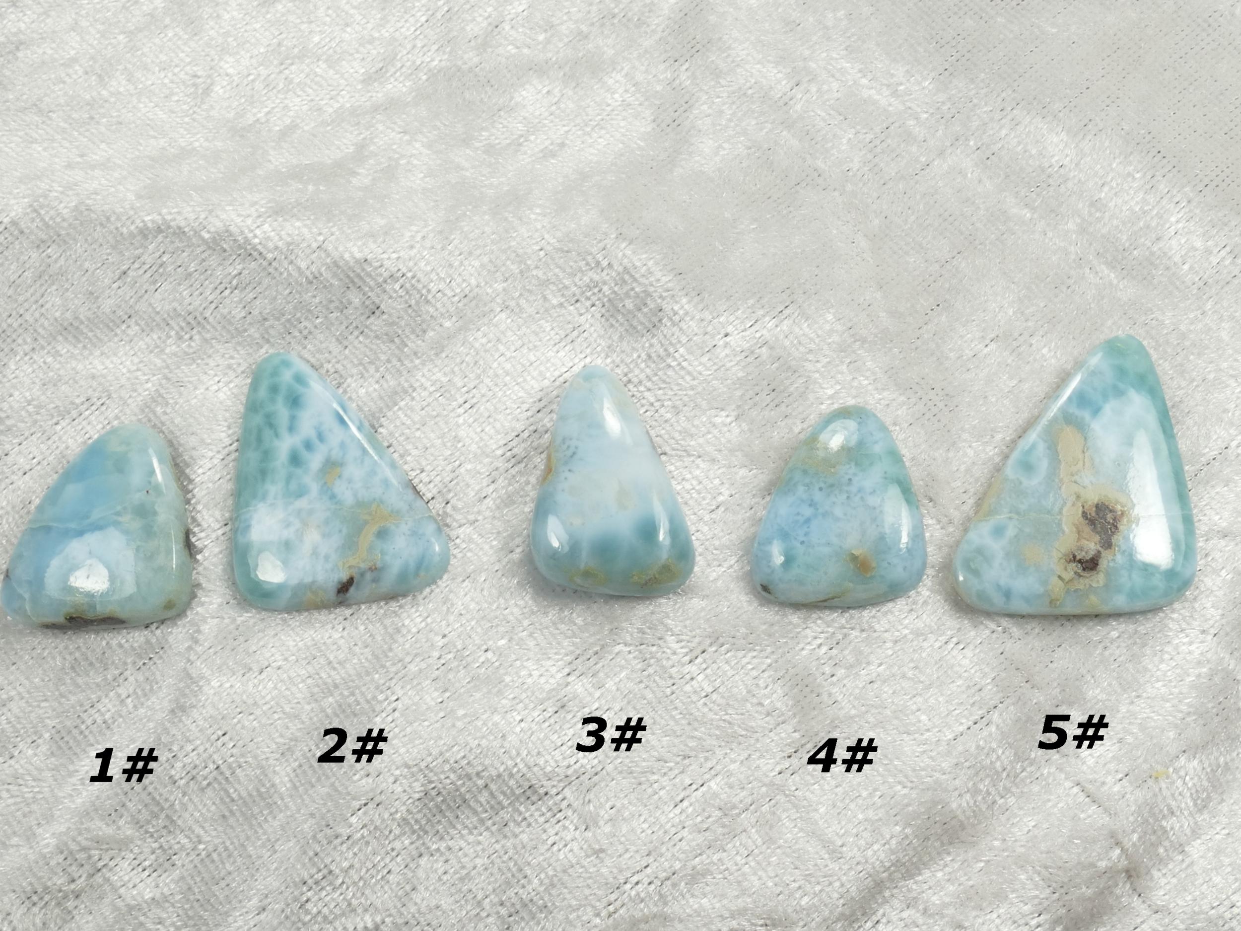 Cabochon de Larimar naturel à l\'unité pierre fine bleu/blanc (#PM206)