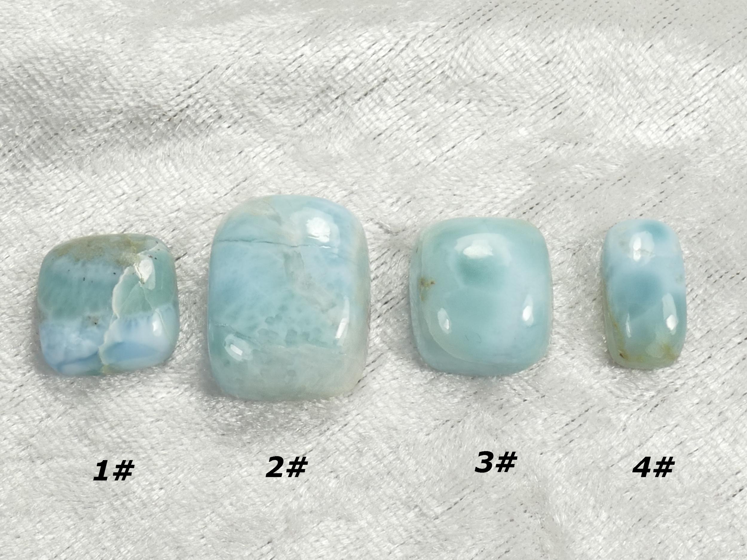 Cabochon de Larimar naturel rectangle à l\'unité pierre fine bleu/blanc (#PM214)