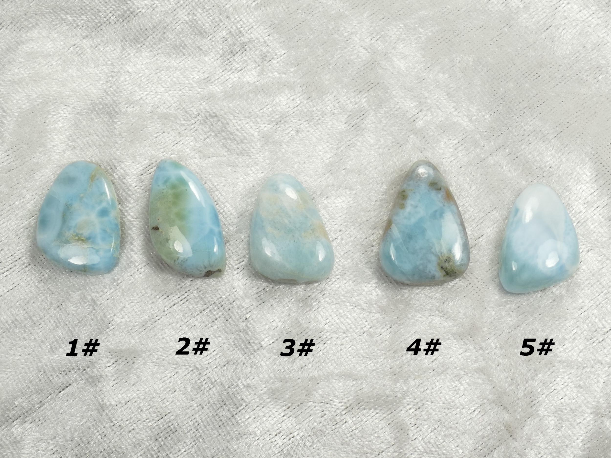 Cabochon de Larimar naturel à l\'unité pierre fine bleu/blanc (#PM202)