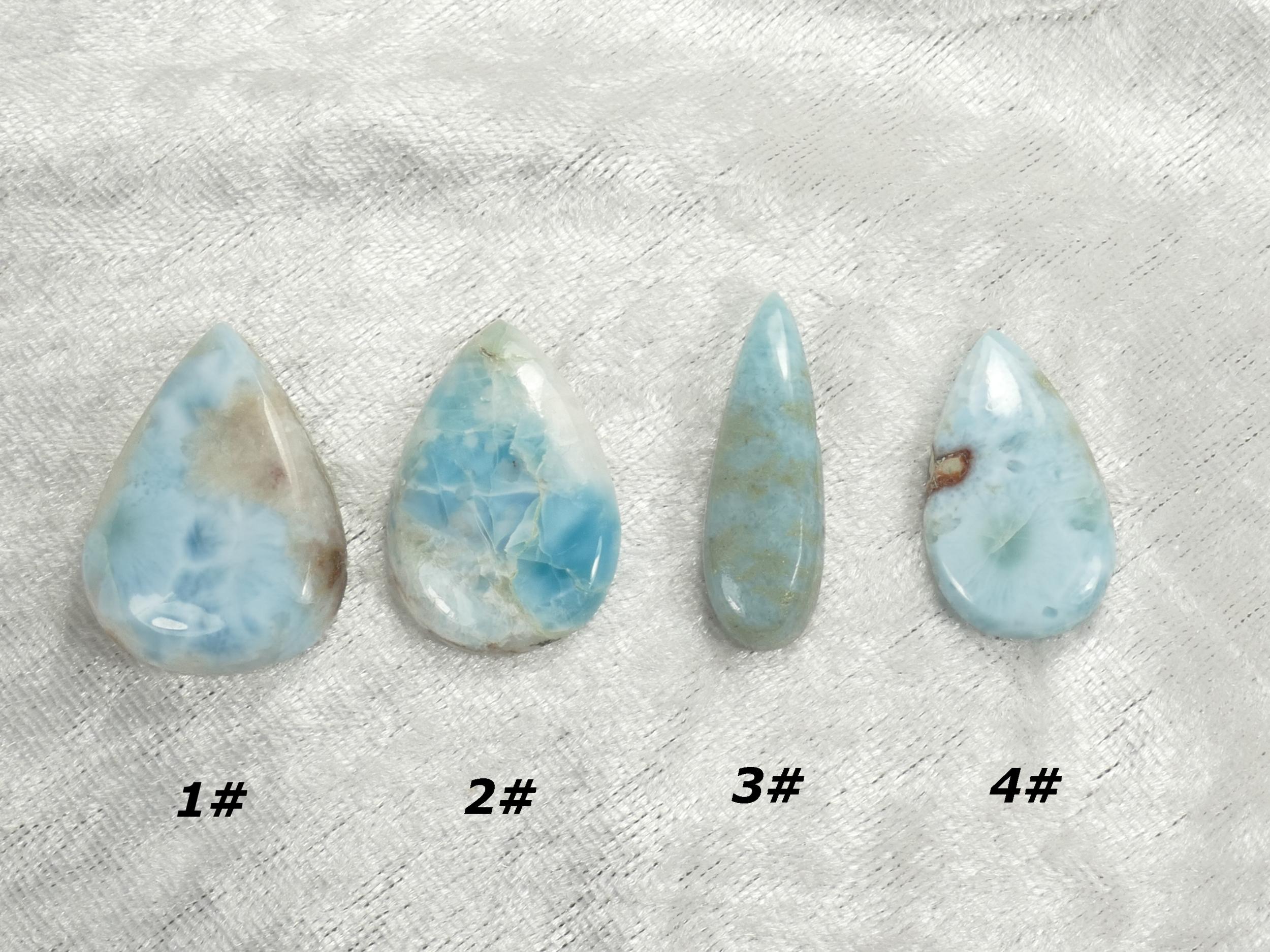 Cabochon de Larimar naturel poire goutte à l\'unité pierre fine bleu/blanc (#PM209)