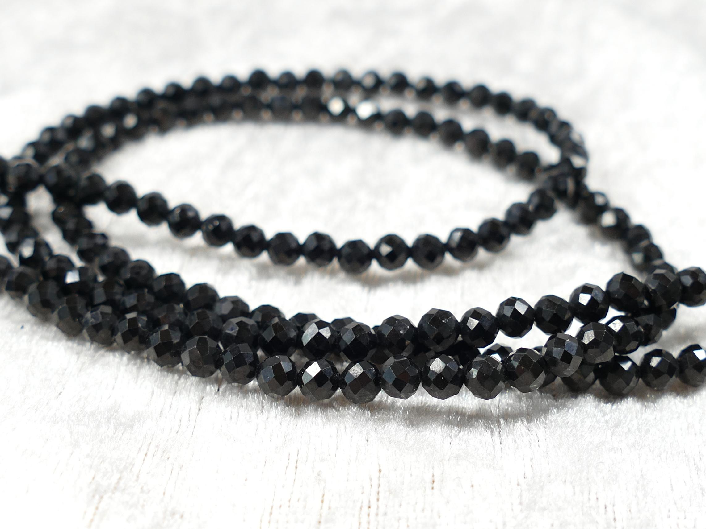 4.2mm AAA+ Perles de Spinelle noir naturel ronde facettée x20cm (7.9inch) (#AC1154)