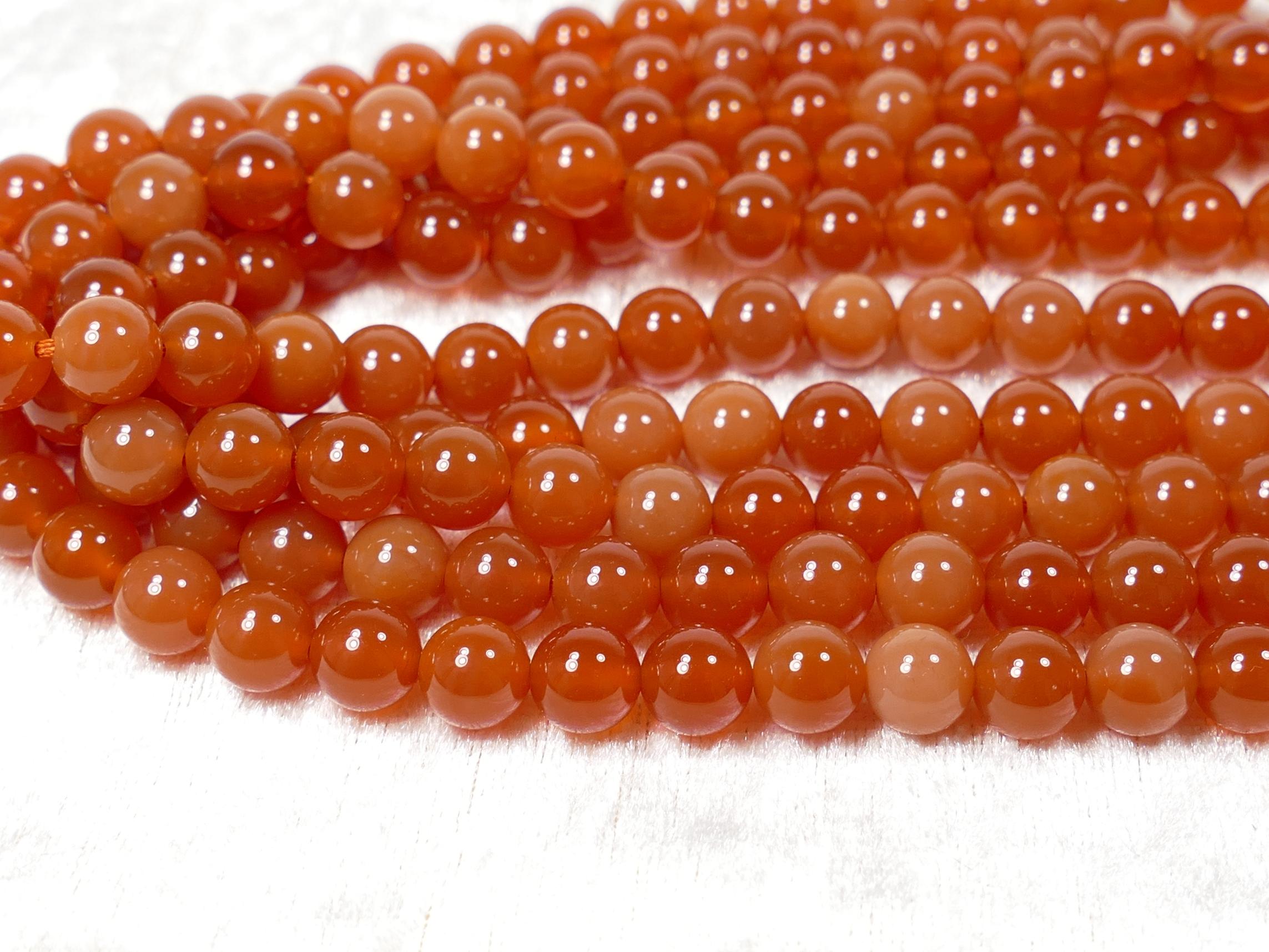 8.3mm Fil de perles d\'Agate naturelle teintée orangé rouge boule / ronde lisse 38cm (15inch) (#AC1049)