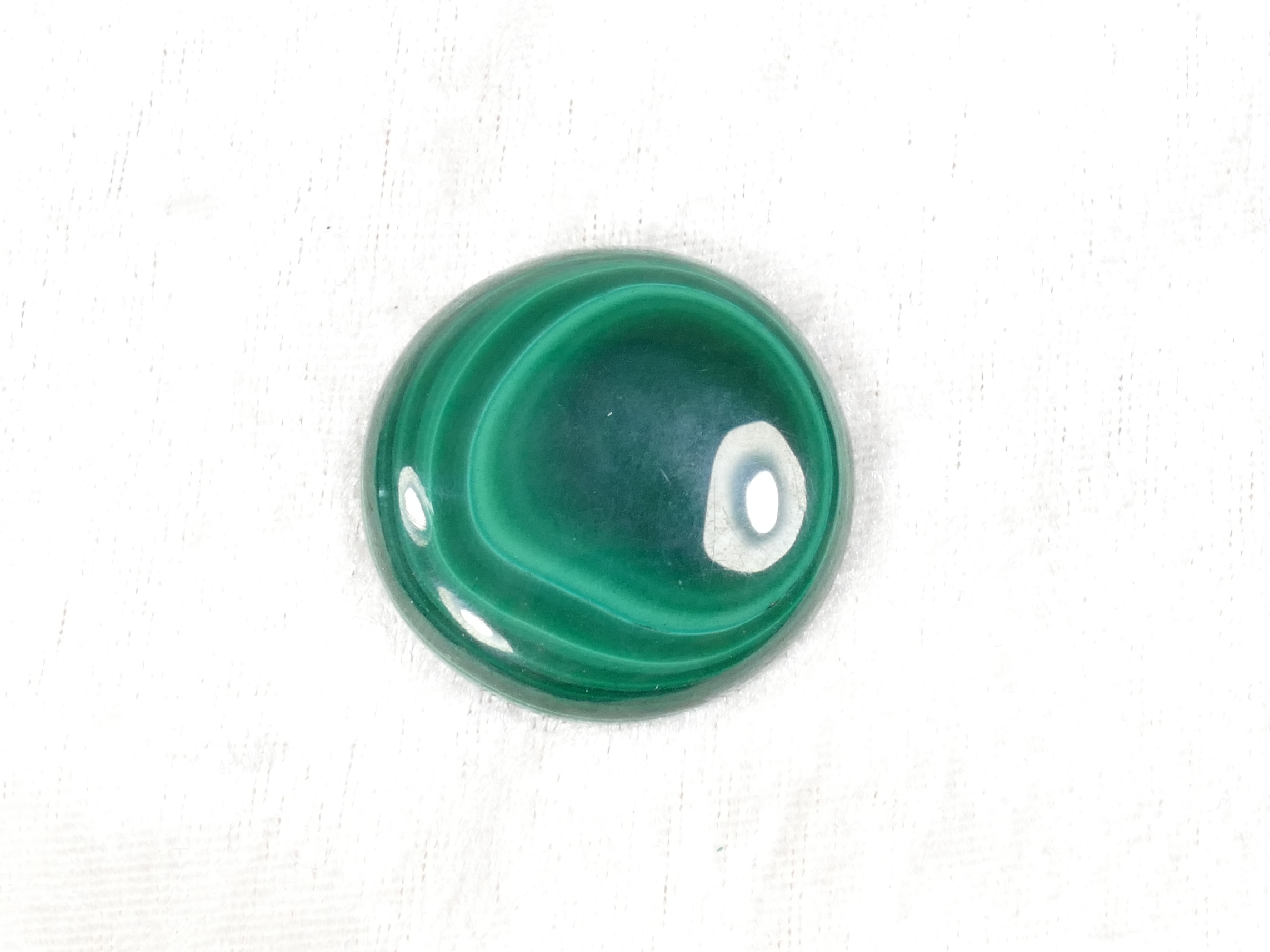 34.4mm Malachite naturelle en cabochon rond 21.1g (#PM460)
