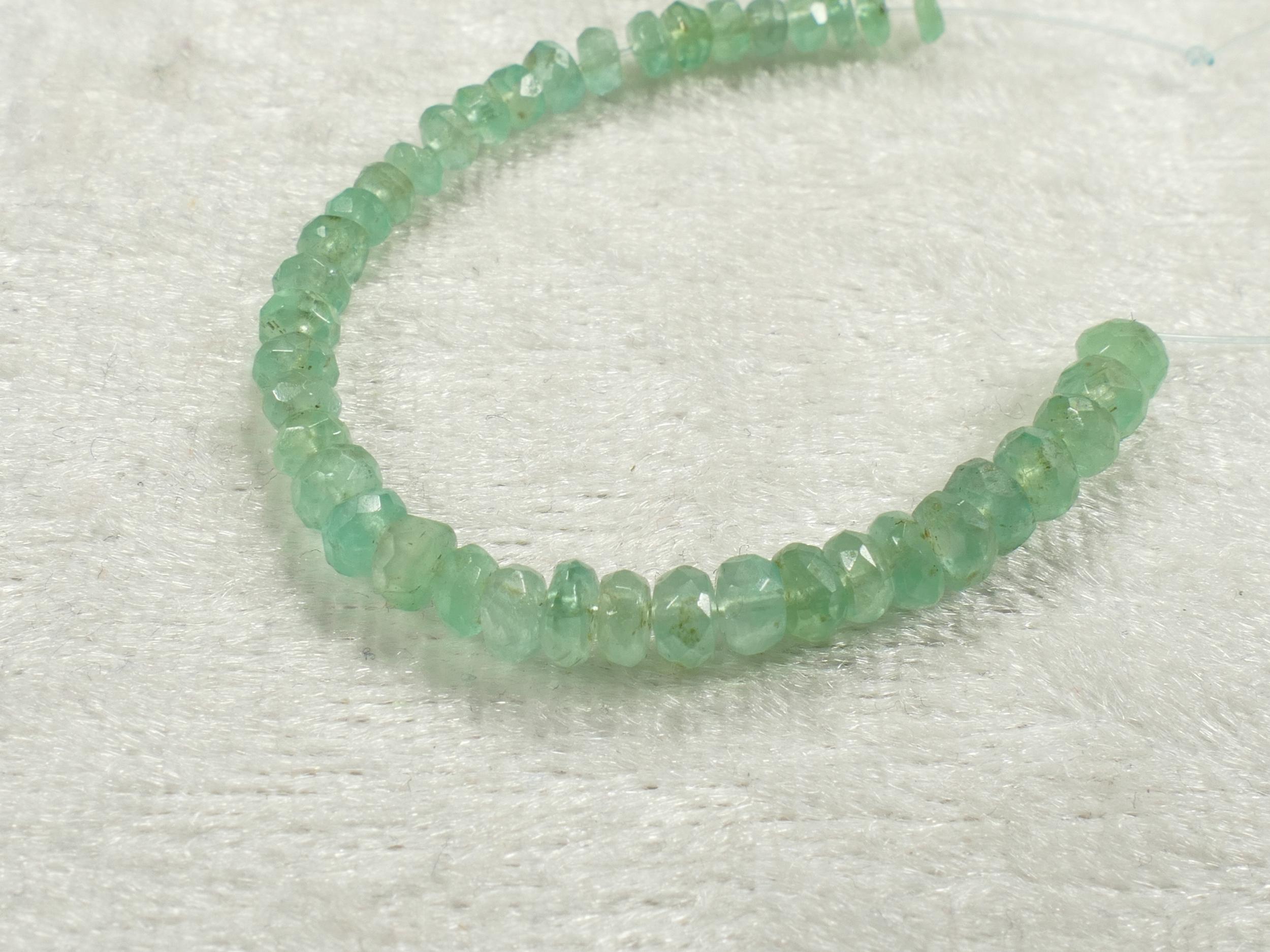 3/3.6mm Perles d\'Emeraude naturel en rondelle facettée de Colombie 7.9cm (3.1inch) (#PK661)