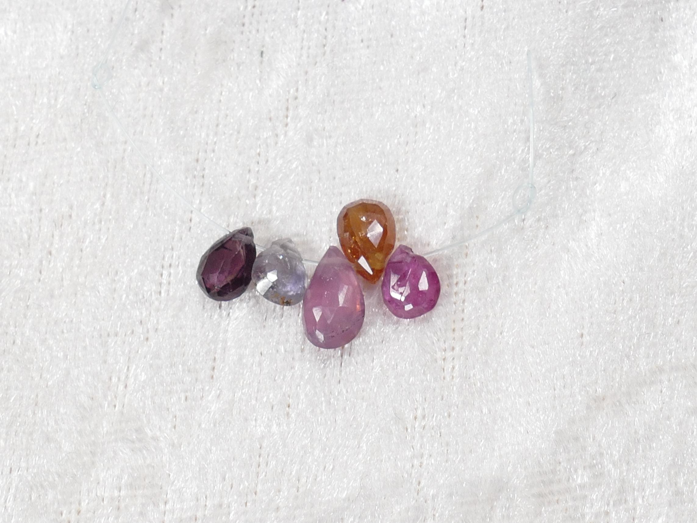 5 perles de Saphir naturel goutte plate facetté multicolore rosé (#PM640)