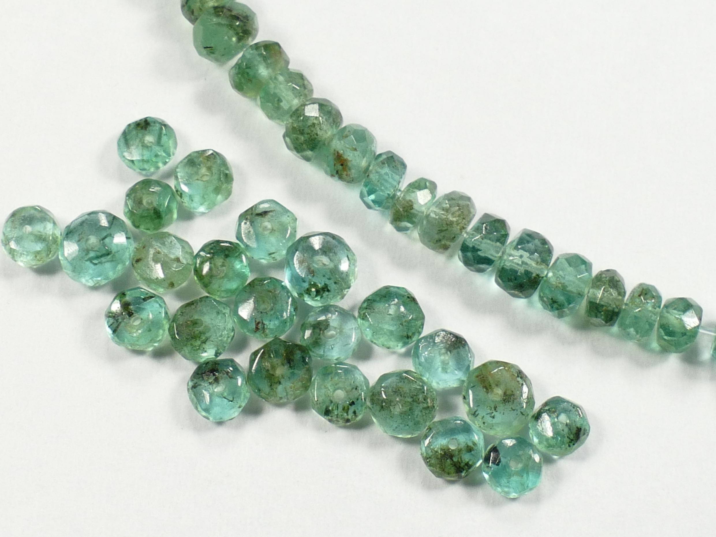 3/3.5mm Perle d\'Emeraude naturel en lot rondelle facettée de Zambie x5cm (2inch) (#AC139M)