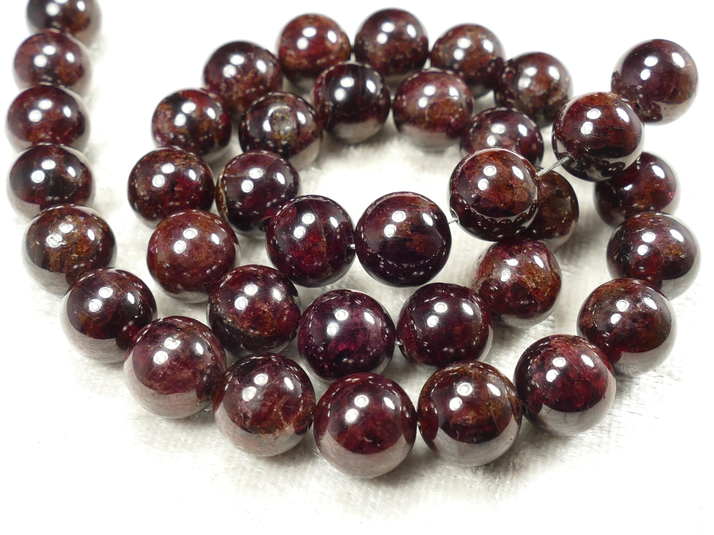 9.7mm x14 Perles de Grenat rouge foncé naturel boule /ronde lisse (#AC639)