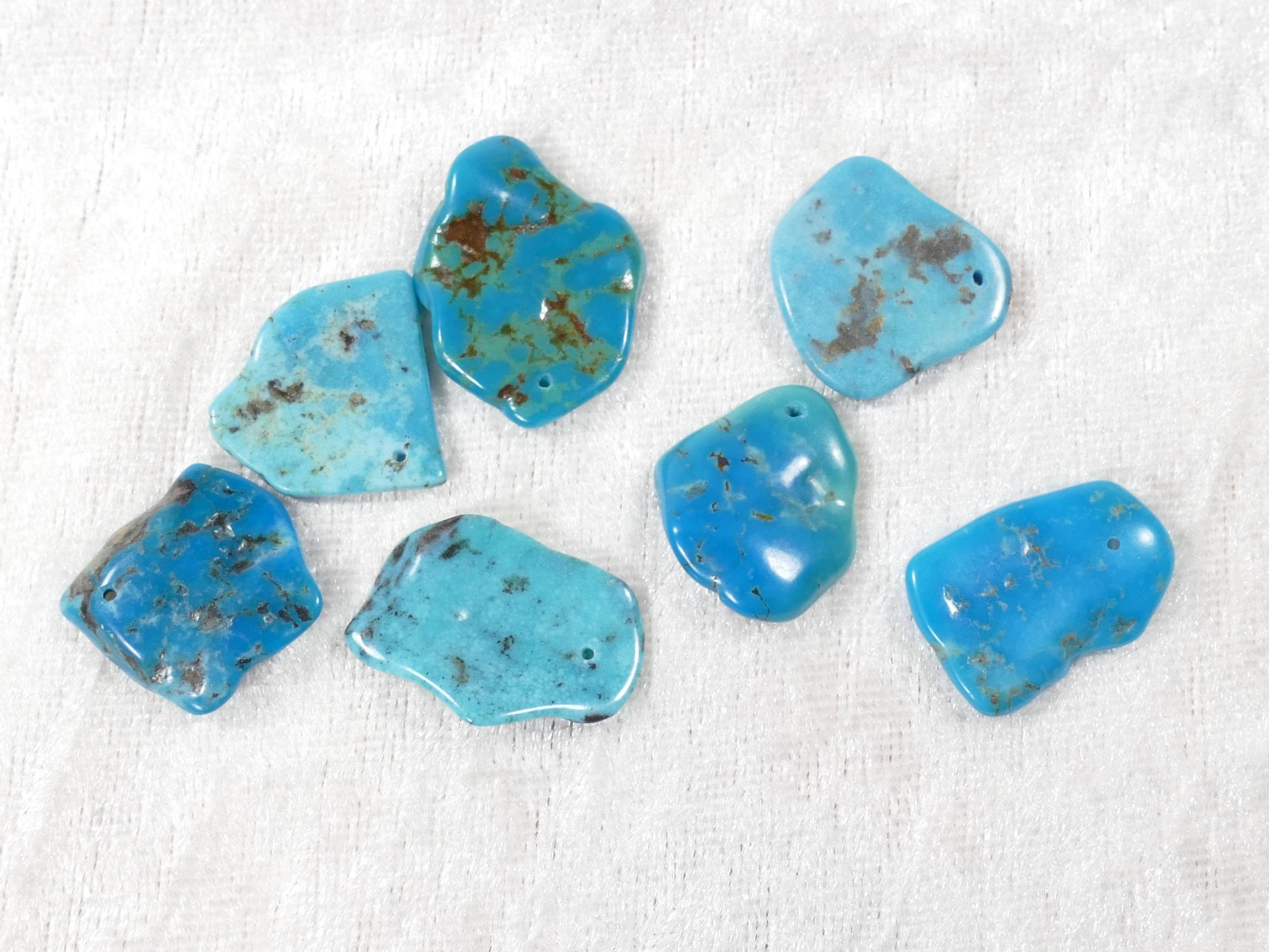 7 Perles de Turquoise naturelle en morceau roulé poli (#PM723)