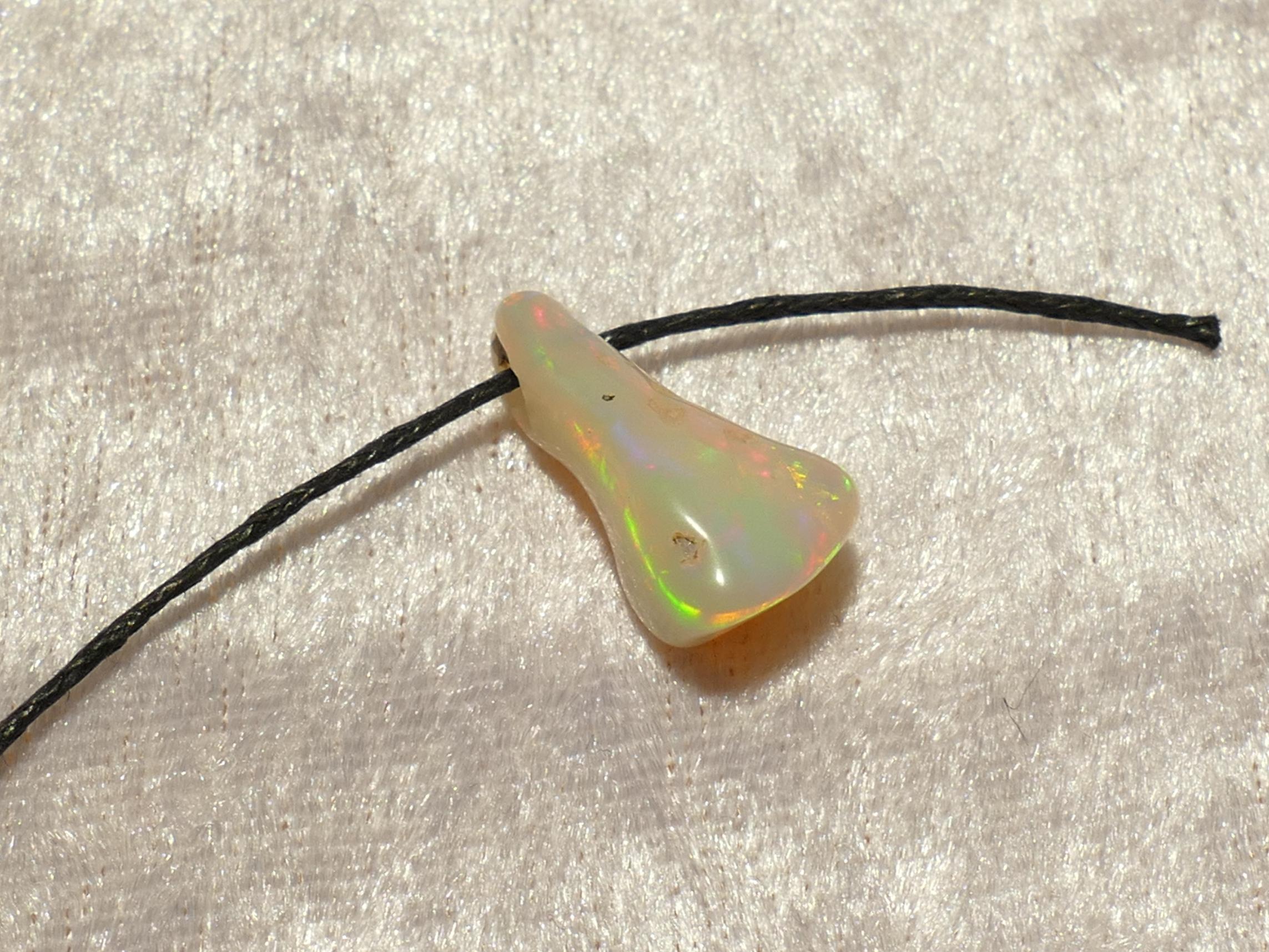 19.7mm Jolie Opale naturelle roulée perle percé de Welo en Ethiopie 5.5ct (#PM728)
