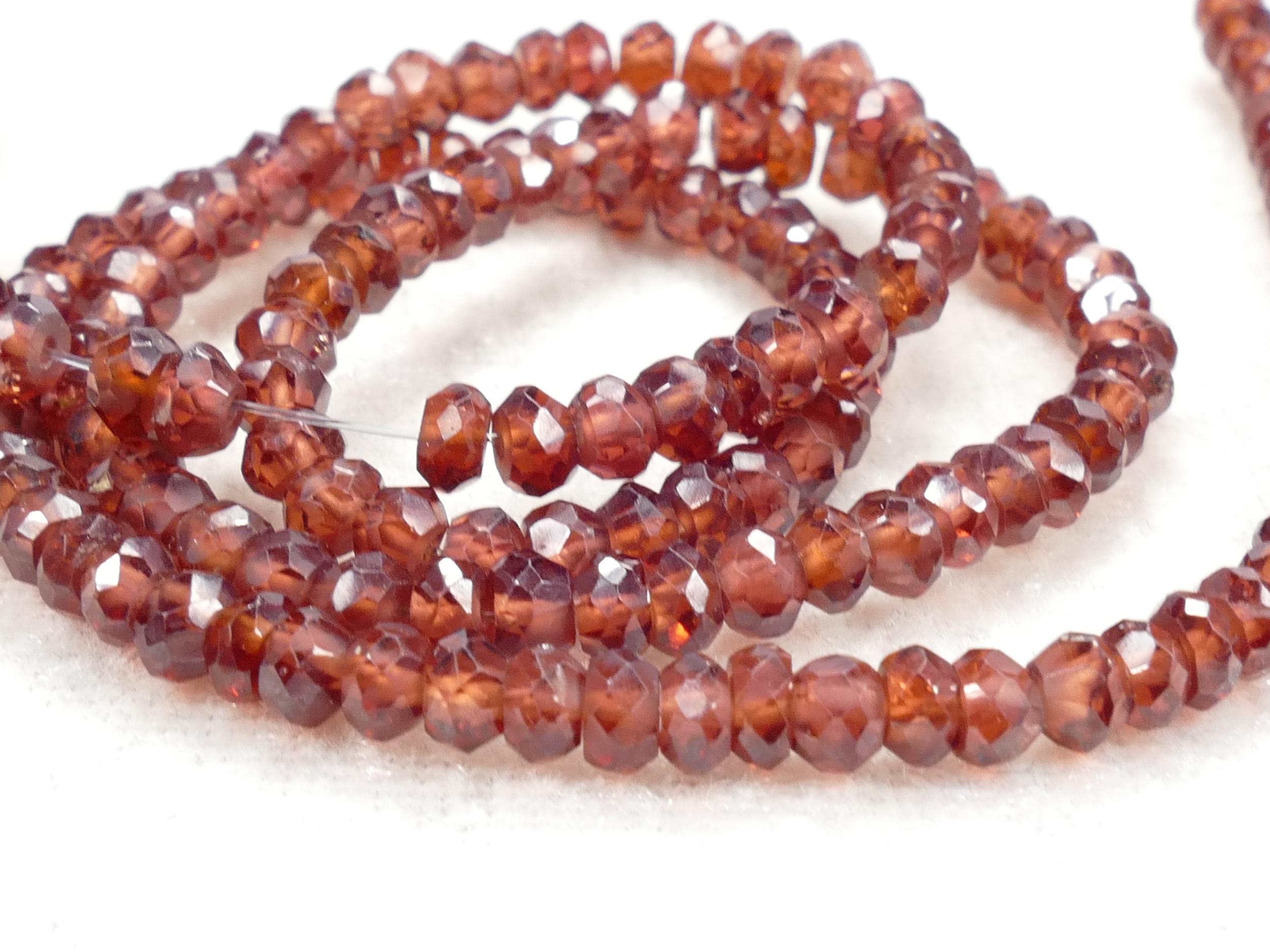 4mm Perles de Grenat rouge orangé naturel rondelle facettée du Mozambique x10cm (3.9inch) (#AC574)