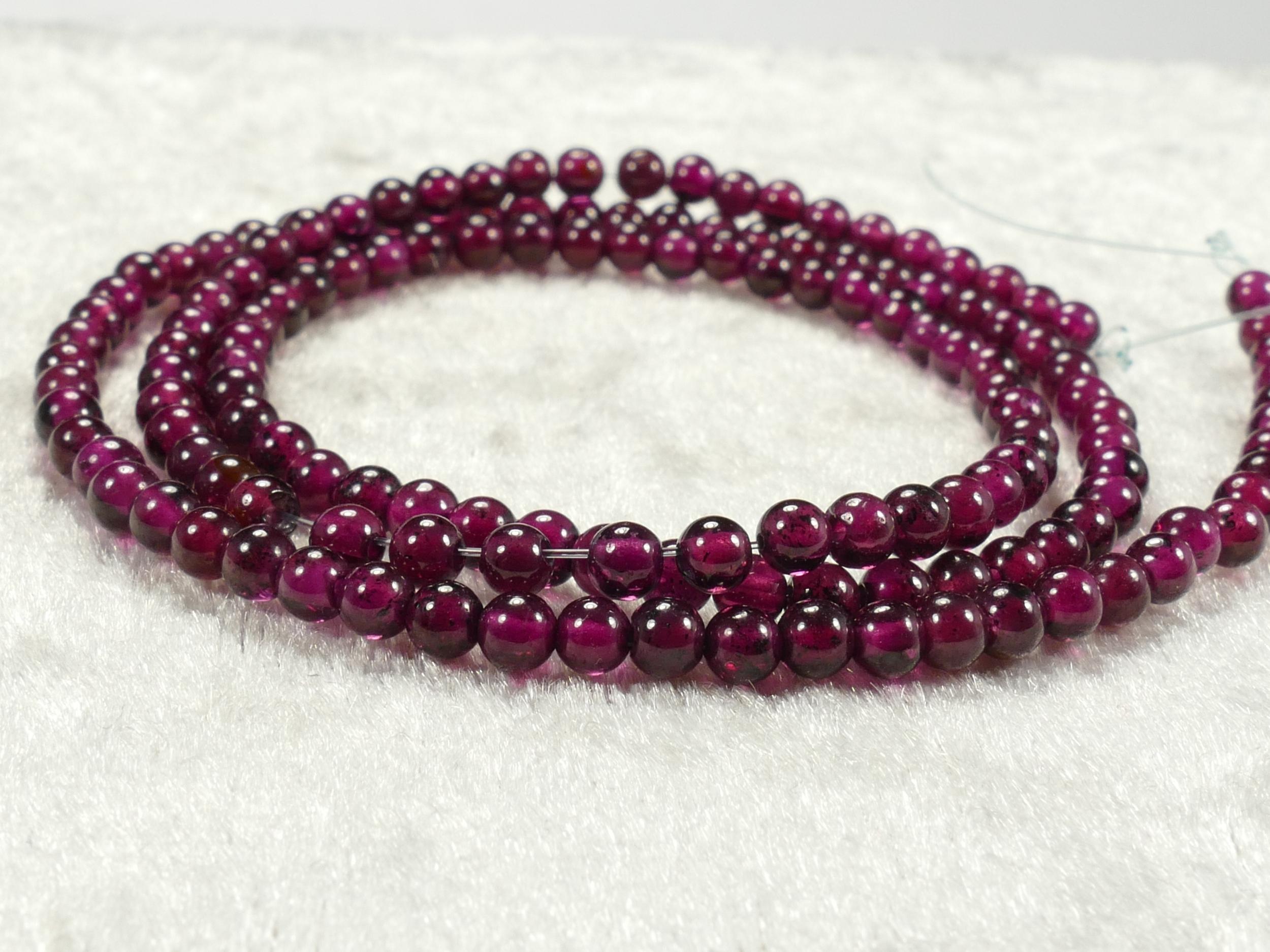 3/3.2mm Perles de Grenat rouge violet naturel boule / ronde lisse d\'Inde x20cm (7.8inch) (#AC580)