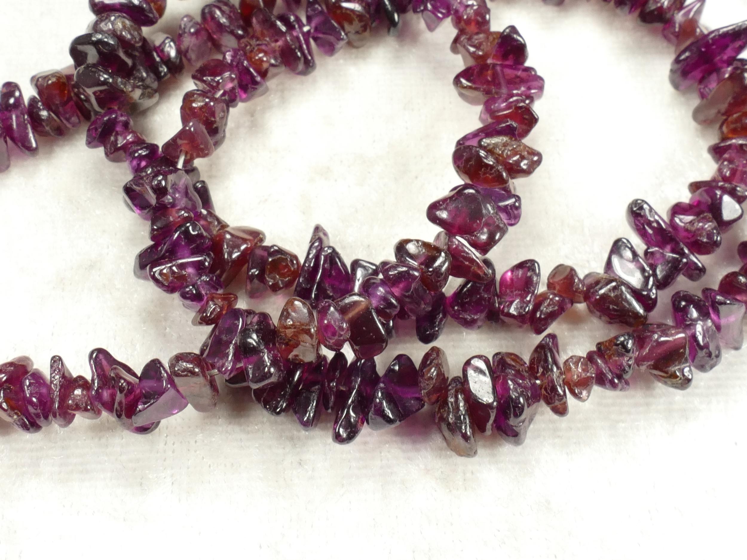 5/8mm Perle de Grenat rouge violet naturel brute roulée x40cm (15.7inch) (#AC486)