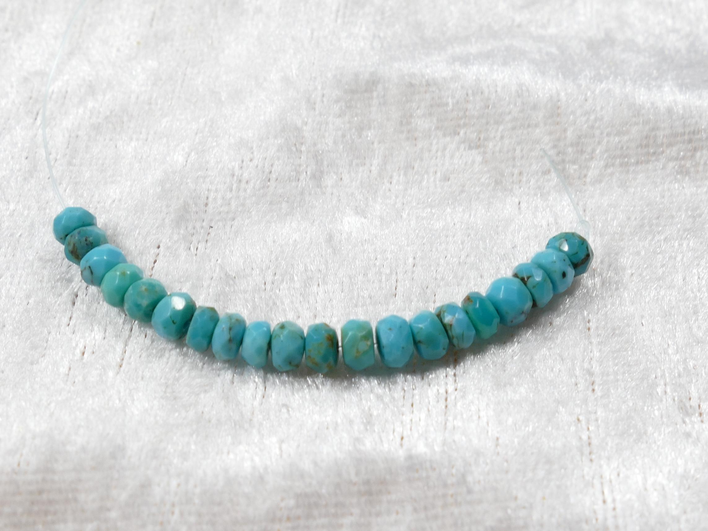 4-4.3mm Perles de Turquoise naturelle en rondelle facettée du Mexique (#PM807C)