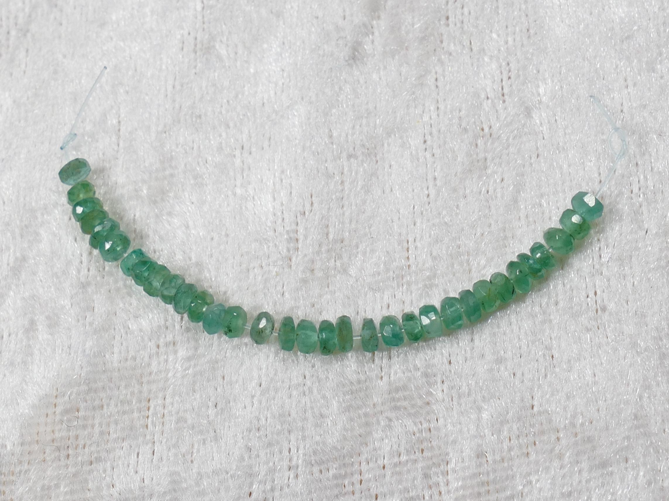 2.9-3.1mm B/A Perles d\'Emeraude naturel en rondelle facettée de Zambie 5cm (#PM850)