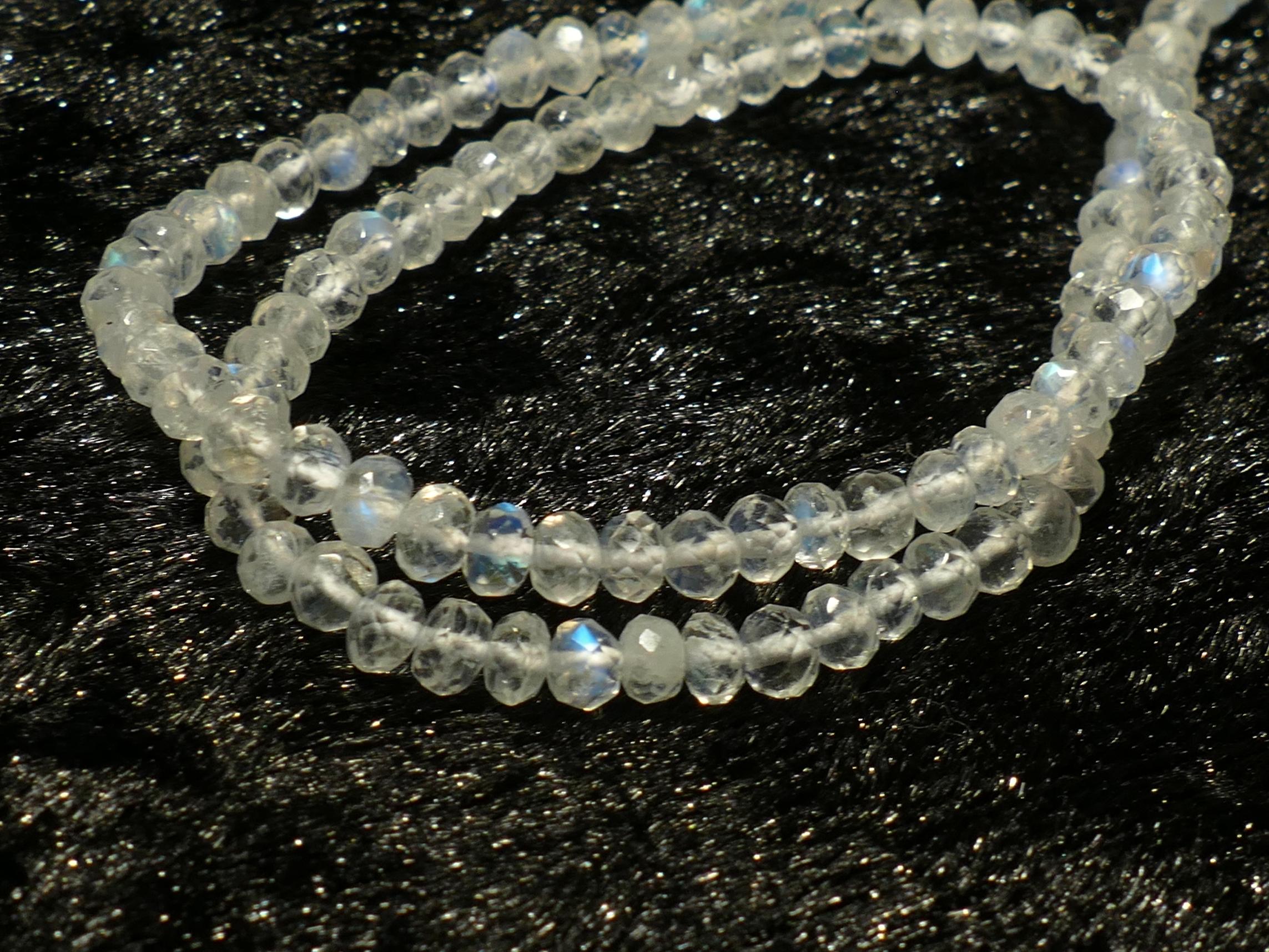 A/AAA+ 3.5-3.8mm Perles de Pierre de lune naturelle arc-en-ciel rondelle facettée x10cm (#B063)