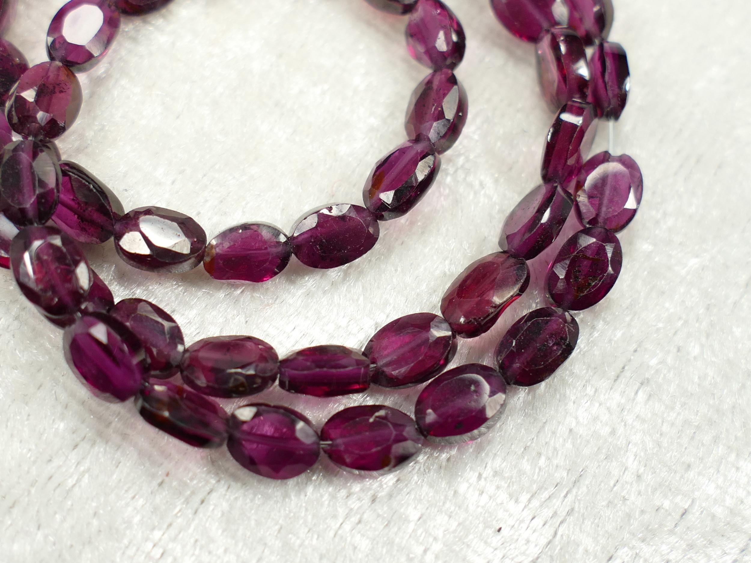 x20 Perles de Grenat rouge violet Almandin naturel ovale facettée d\'Inde (#AC378)