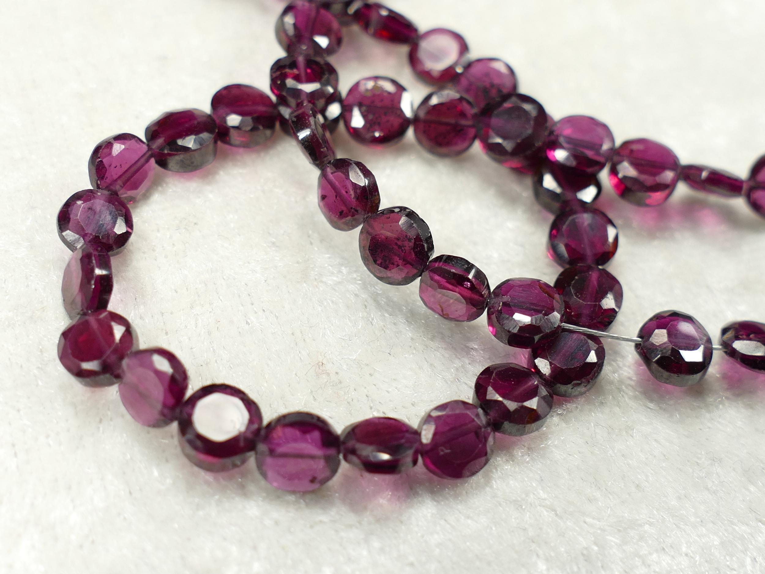 x20 Perles de Grenat rouge violet Almandin naturel palet rond facettée d\'Inde (#AC253)