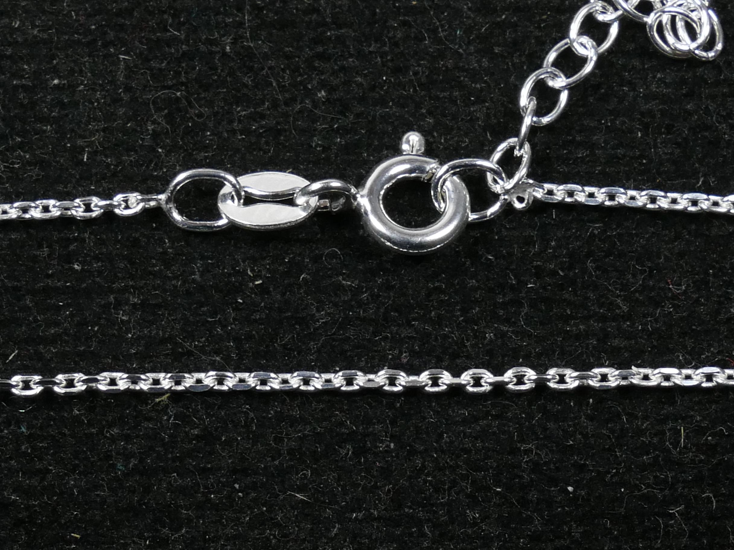 Chaine finie Collier Argent massif 925ème forçat facettée 1.4mm 40+3cm (WA1A007)