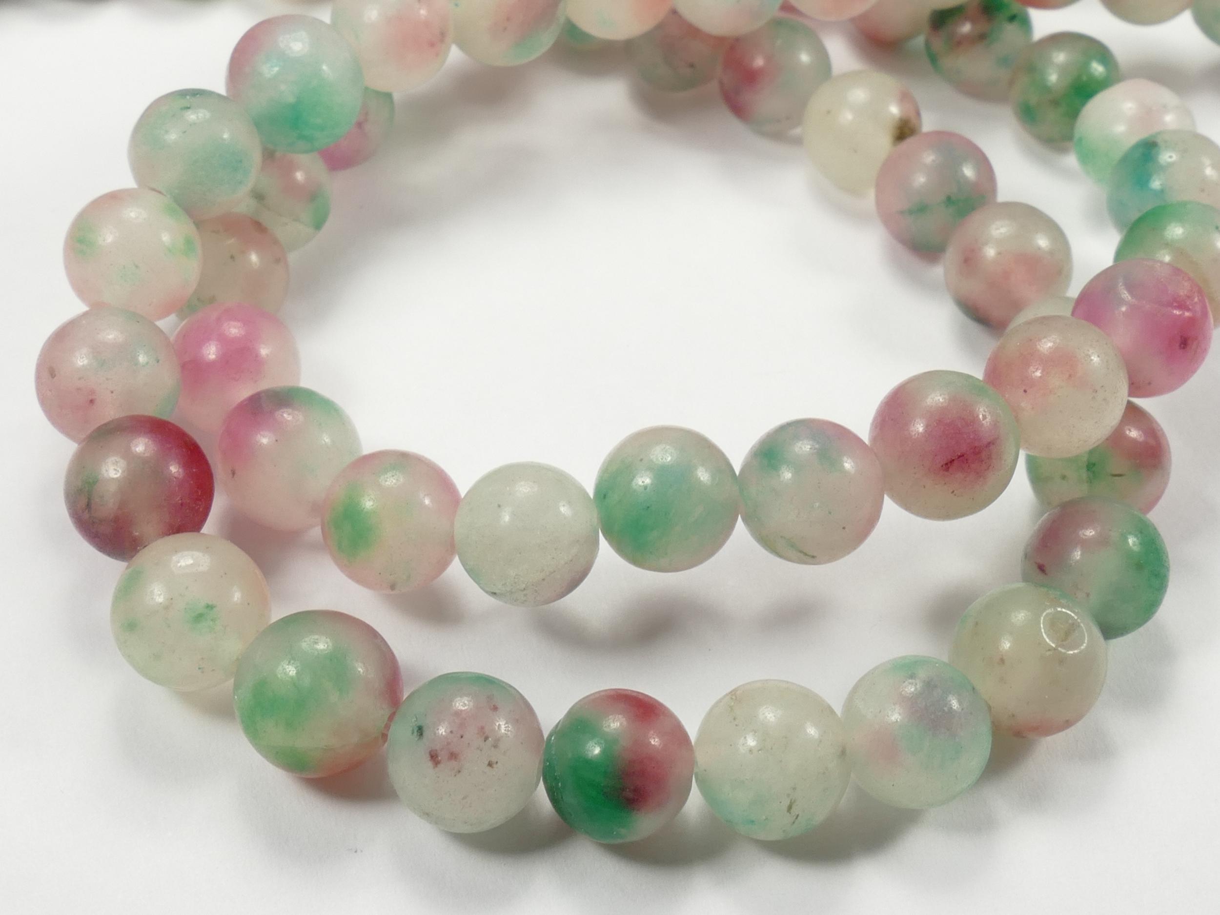 8/8.4mm Perle de Jade teinté en boule / ronde lisse bicolore vert rose x39cm (15.3inch) (#AC677)