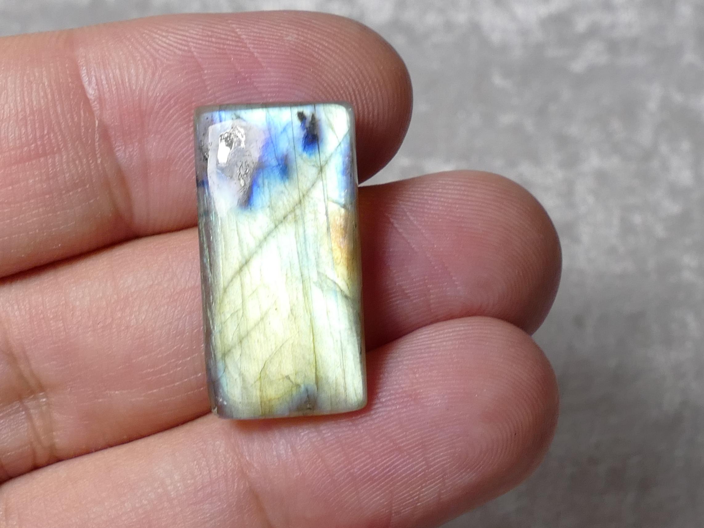 27.6x14mm Labradorite naturelle en cabochon rectangle jaune vert 4.3g (#PM531)