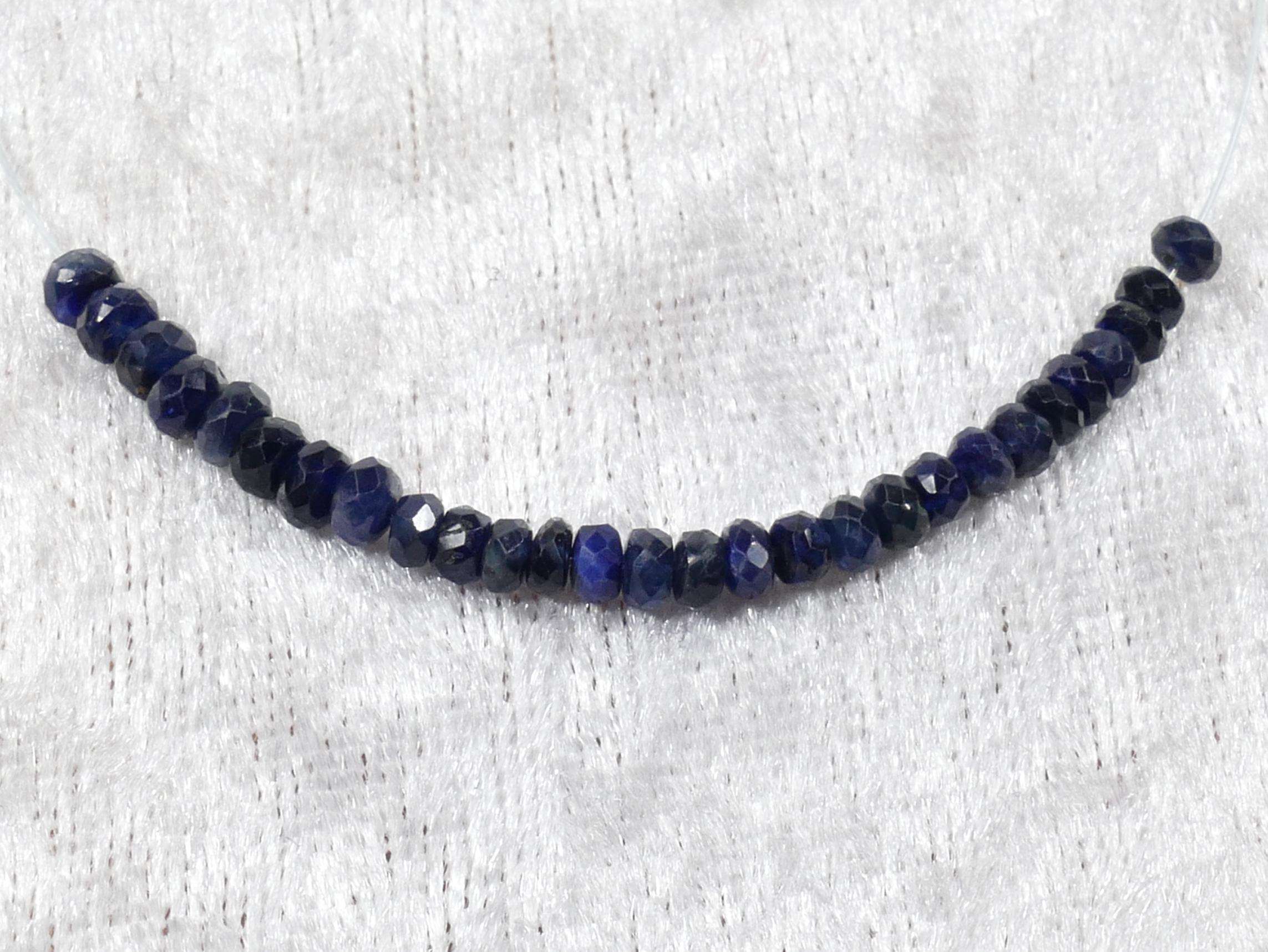 3/3.5mm Perles de Saphir bleu foncé naturel en rondelle facettée x5cm (1.9inch) (#PM901)