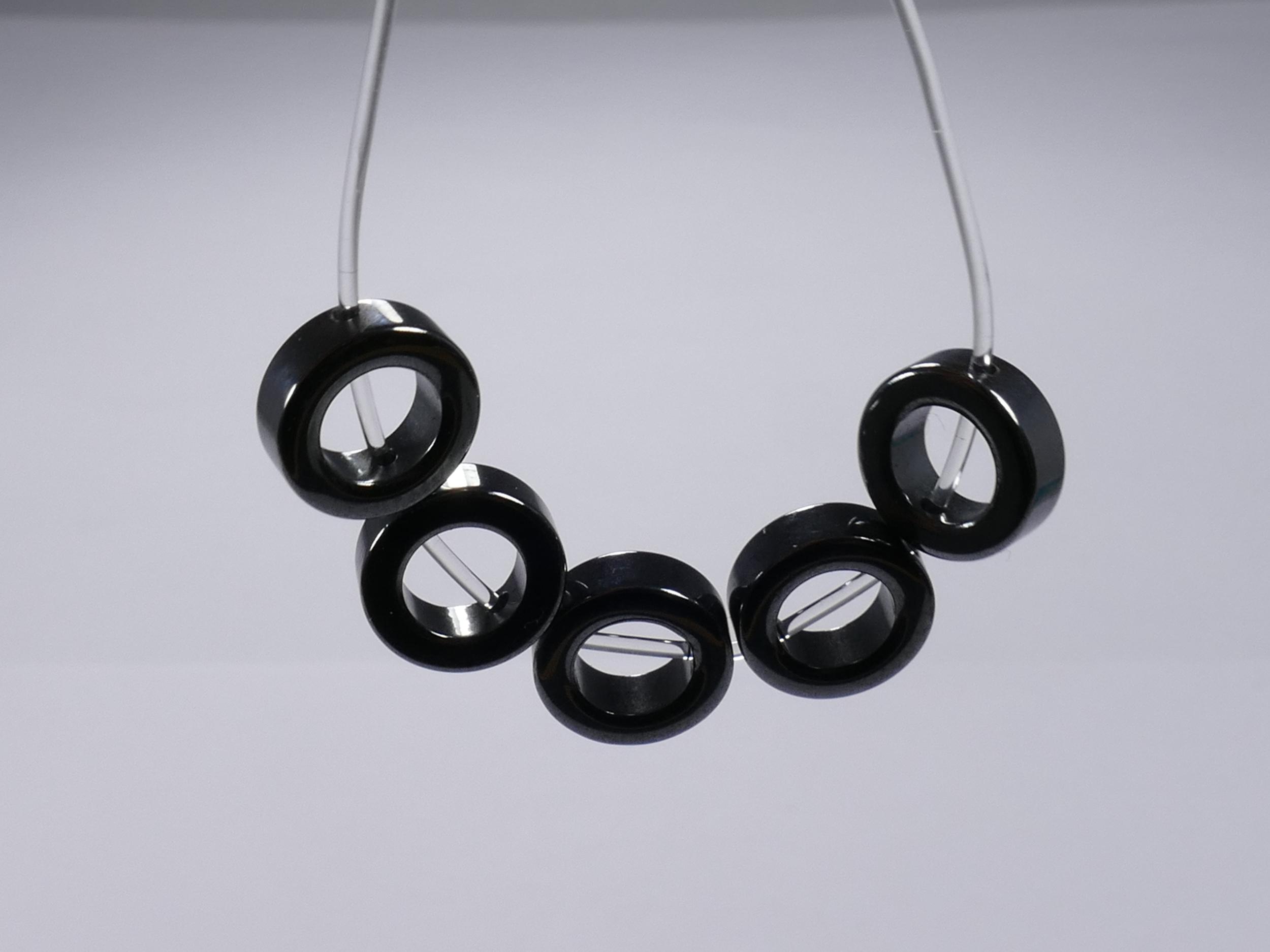 10mm x16 Perles d\'Hématite en anneau polie (#AC105)