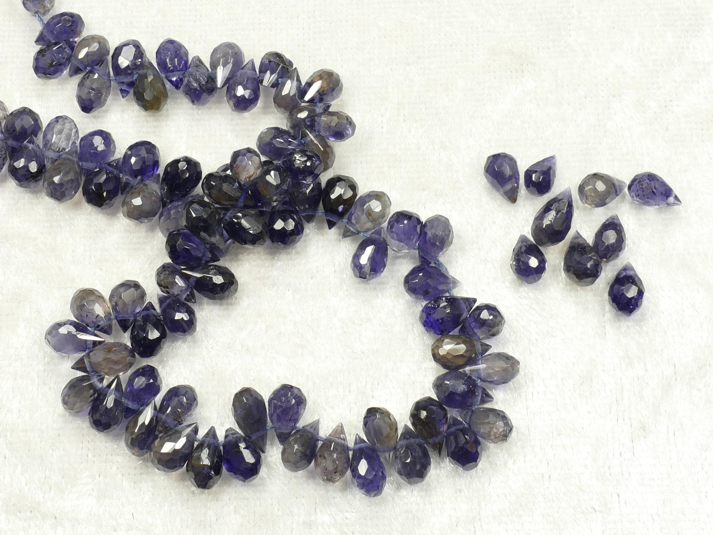 6/8.6mm x10 Perles d\'Iolite ou Cordiérite naturelle en briolette facettée d\'Inde (#AC85)