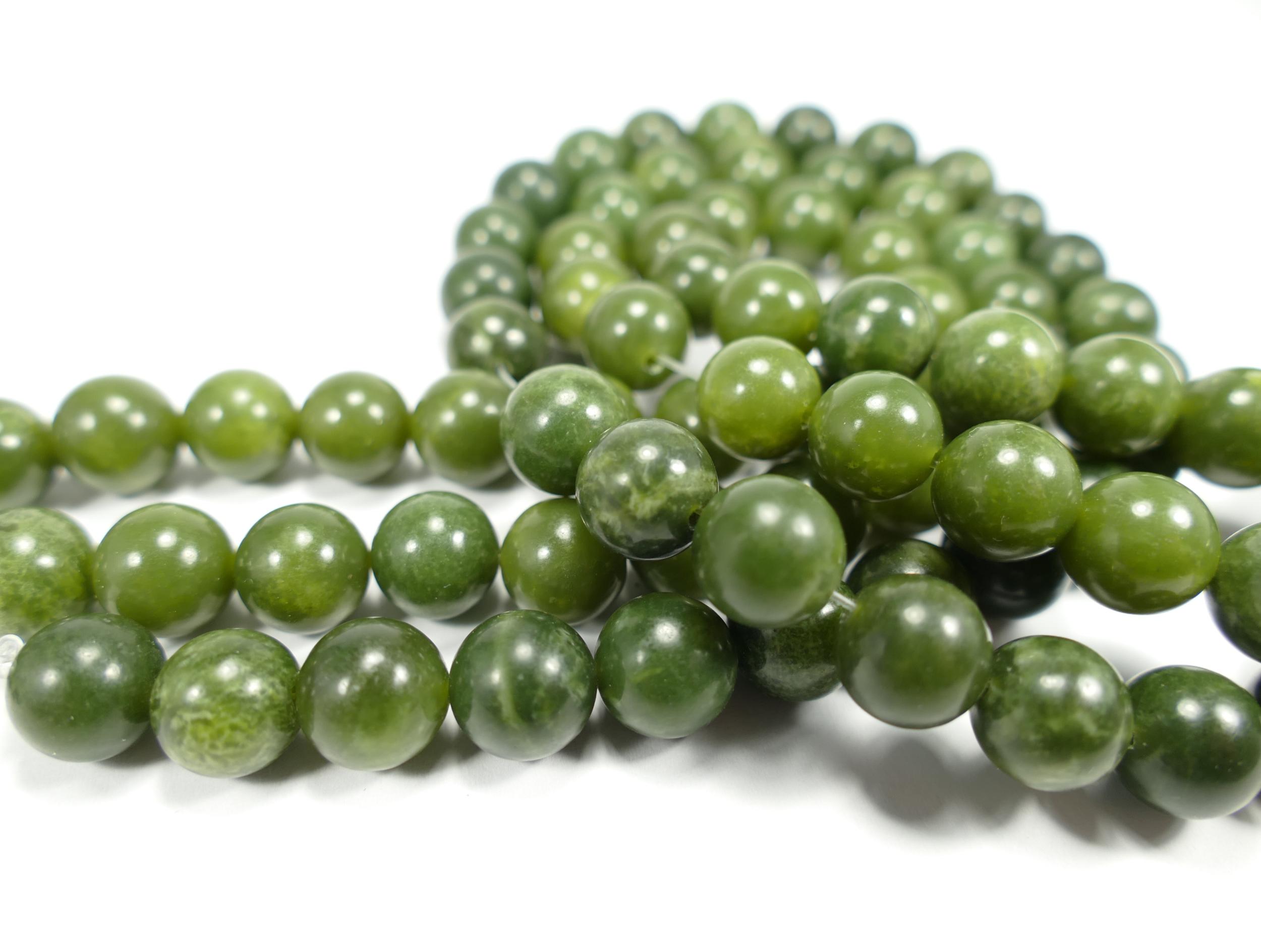 10.3/10.7mm x8 Perles de Jade Néphrite naturel en boule / ronde du Canada vert kaki foncé (#AC605)