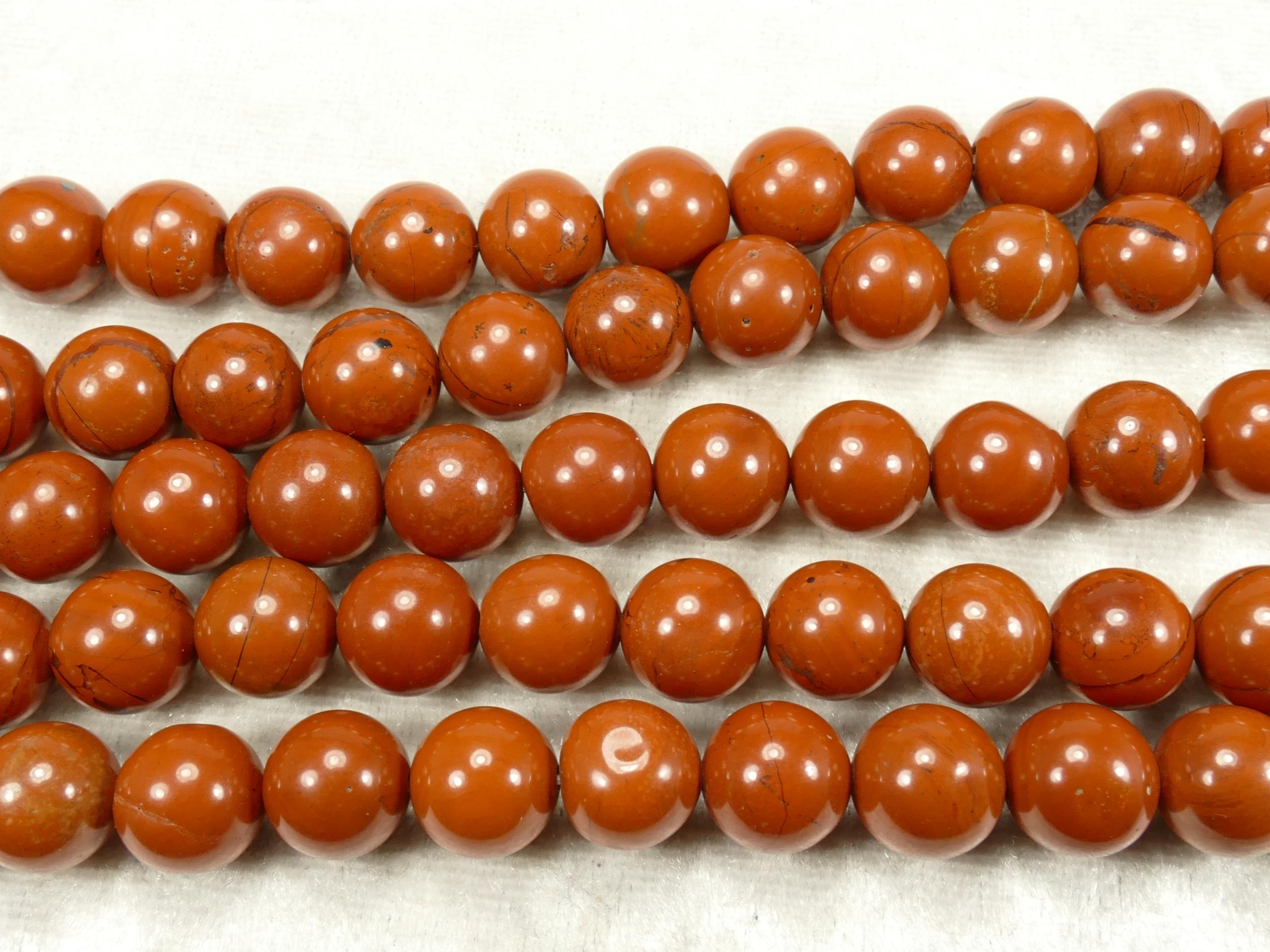 10.1/10.7mm x20 Perles de Jaspe rouge naturel en boule / ronde lisse rouge terre ocre (#AC701)