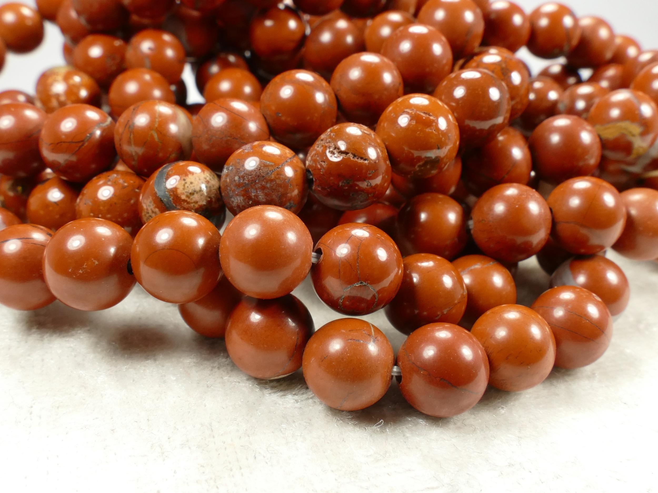 8/8.4mm x25 Perles de Jaspe rouge naturel en boule / ronde lisse rouge terre ocre (#AC716)