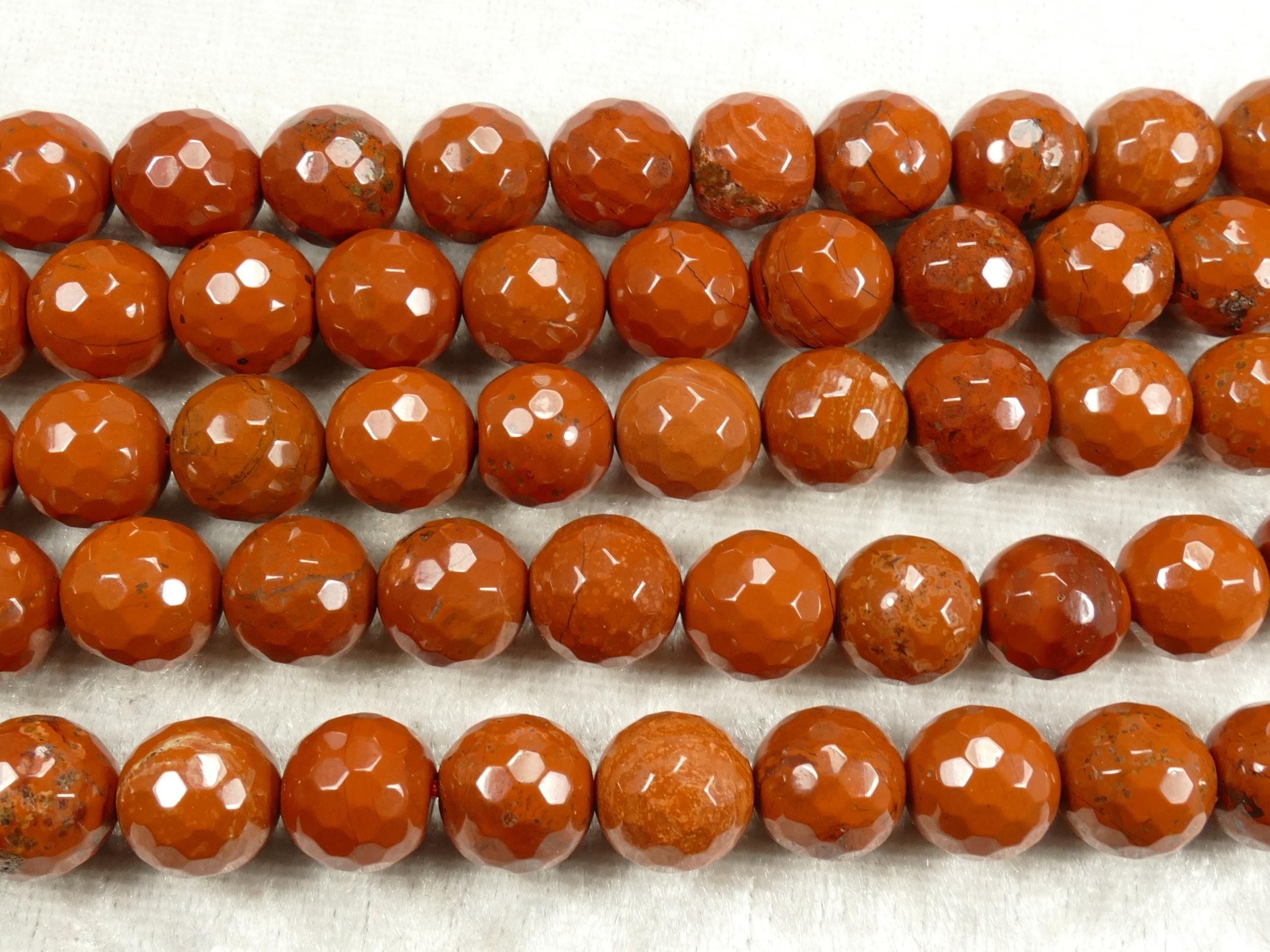 10.1/10.4mm x10 Perles de Jaspe rouge naturel en boule / ronde facettée rouge terre ocre (#AC704)