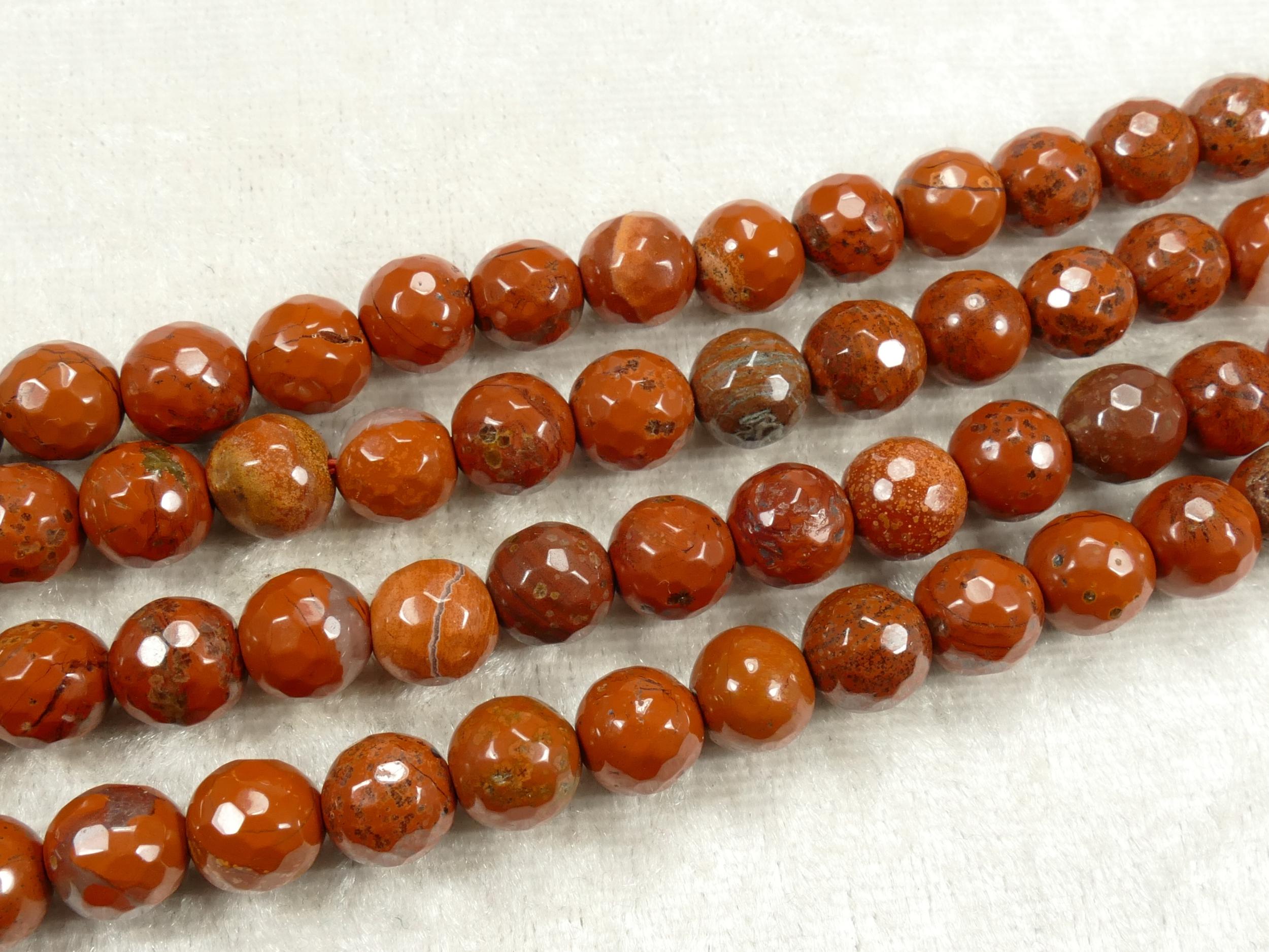7.7/8mm x18 Perles de Jaspe rouge naturel en boule / ronde facettée rouge terre ocre (#AC707)