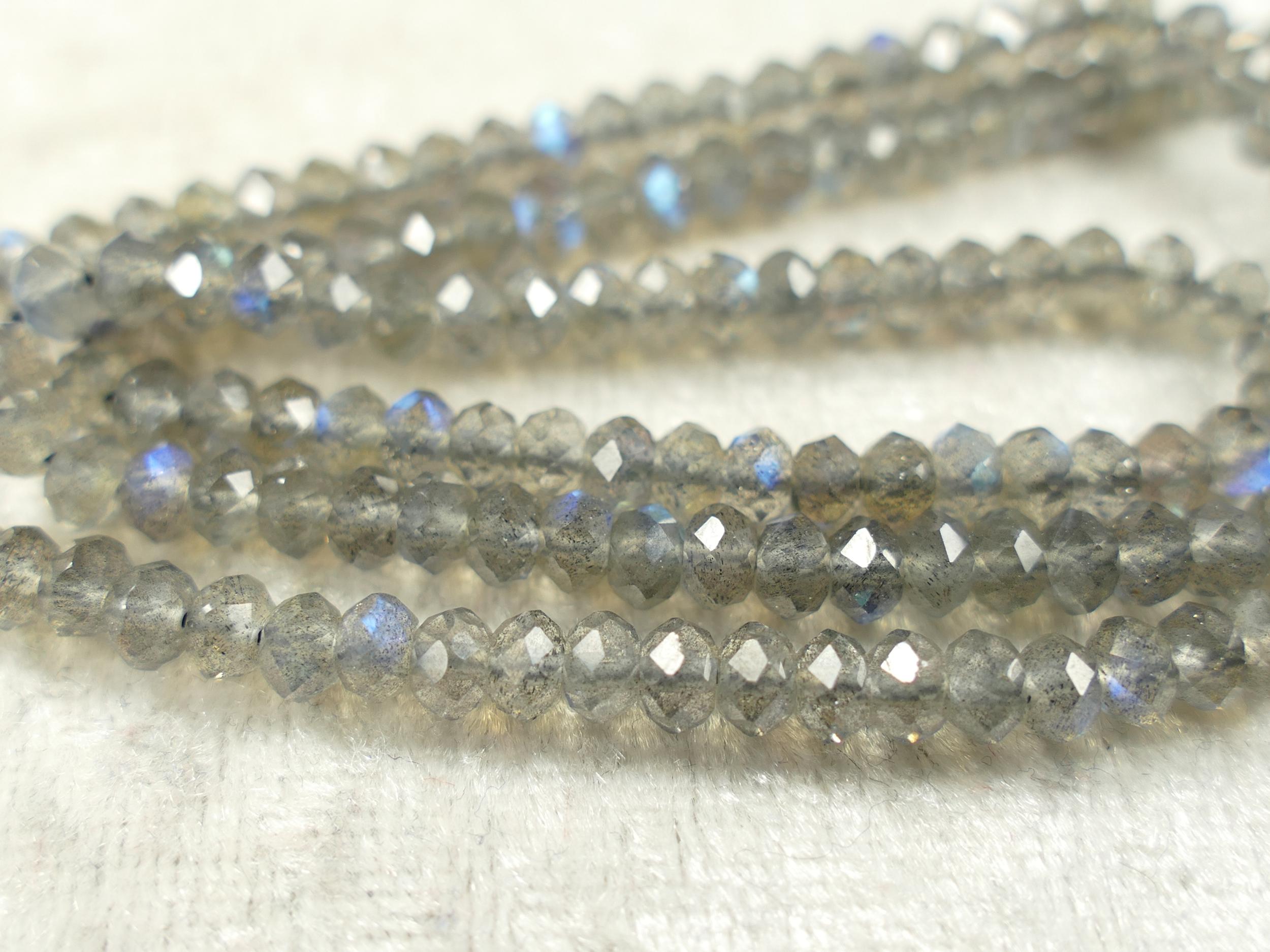 4.2mm Perles de Labradorite naturelle de très bonne qualité en rondelle facettée de Madagascar x10cm (3.9inch) (#AC695)