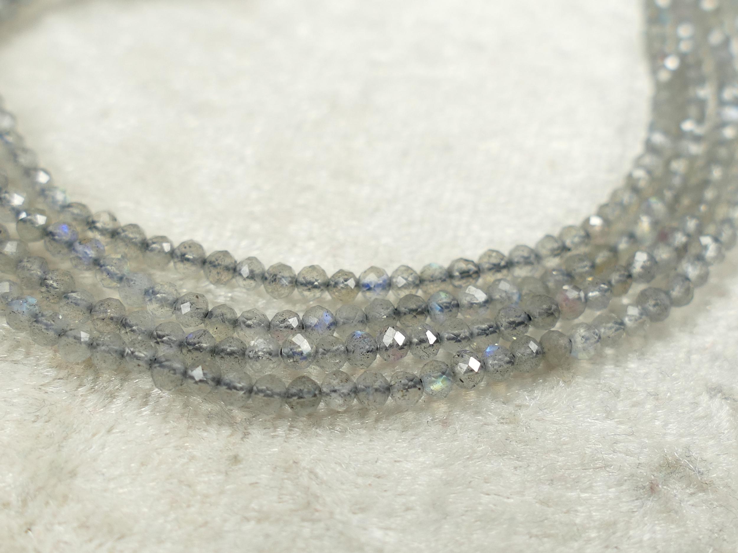 2.4mm Petite perles de Labradorite naturelle en micro rondelle facettée Madagascar x10cm (3.9inch) (#AC681)