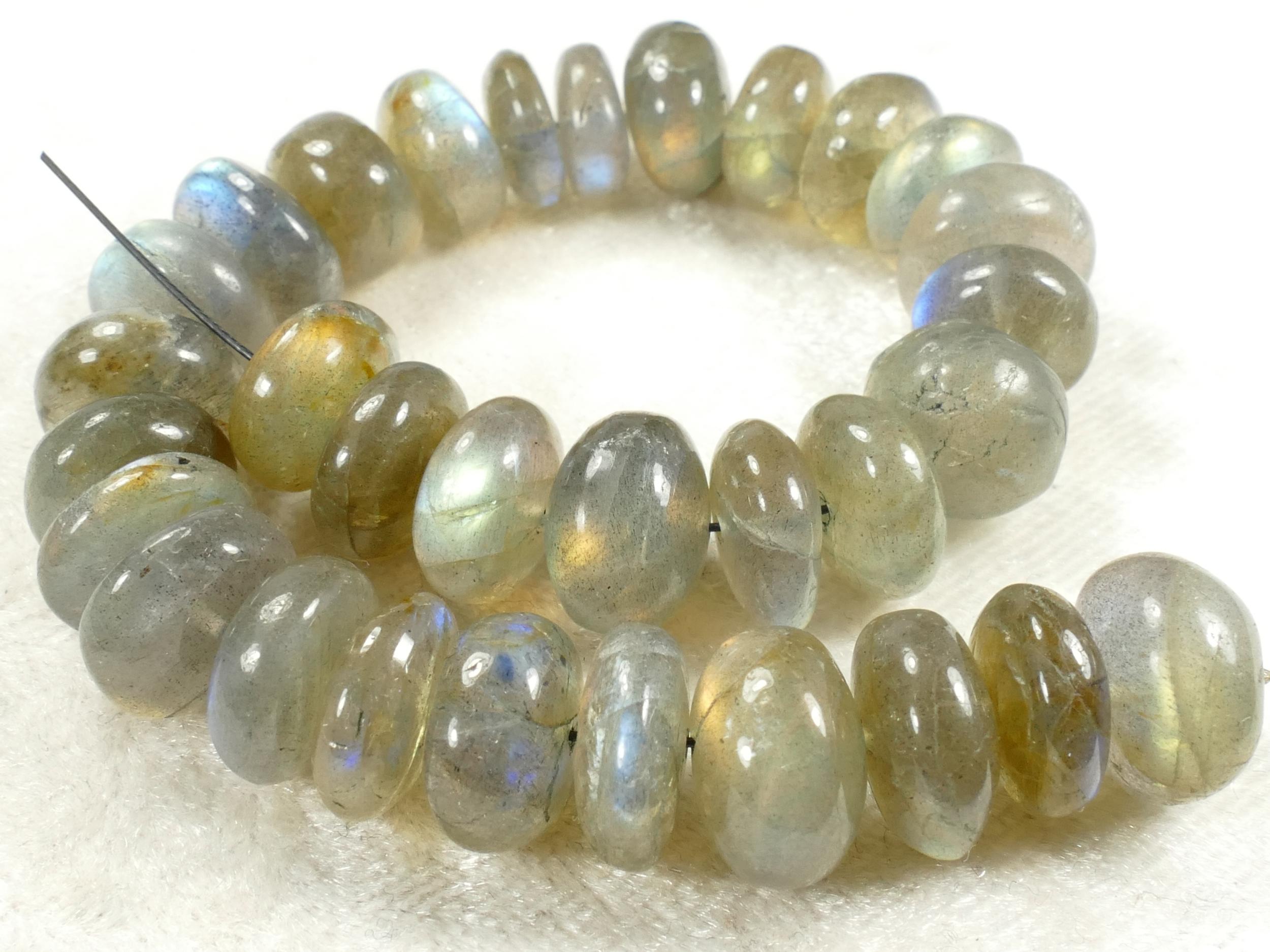 10/11mm Perles de Labradorite naturelle en rondelle lisse de Madagascar x10pc (#AC441)