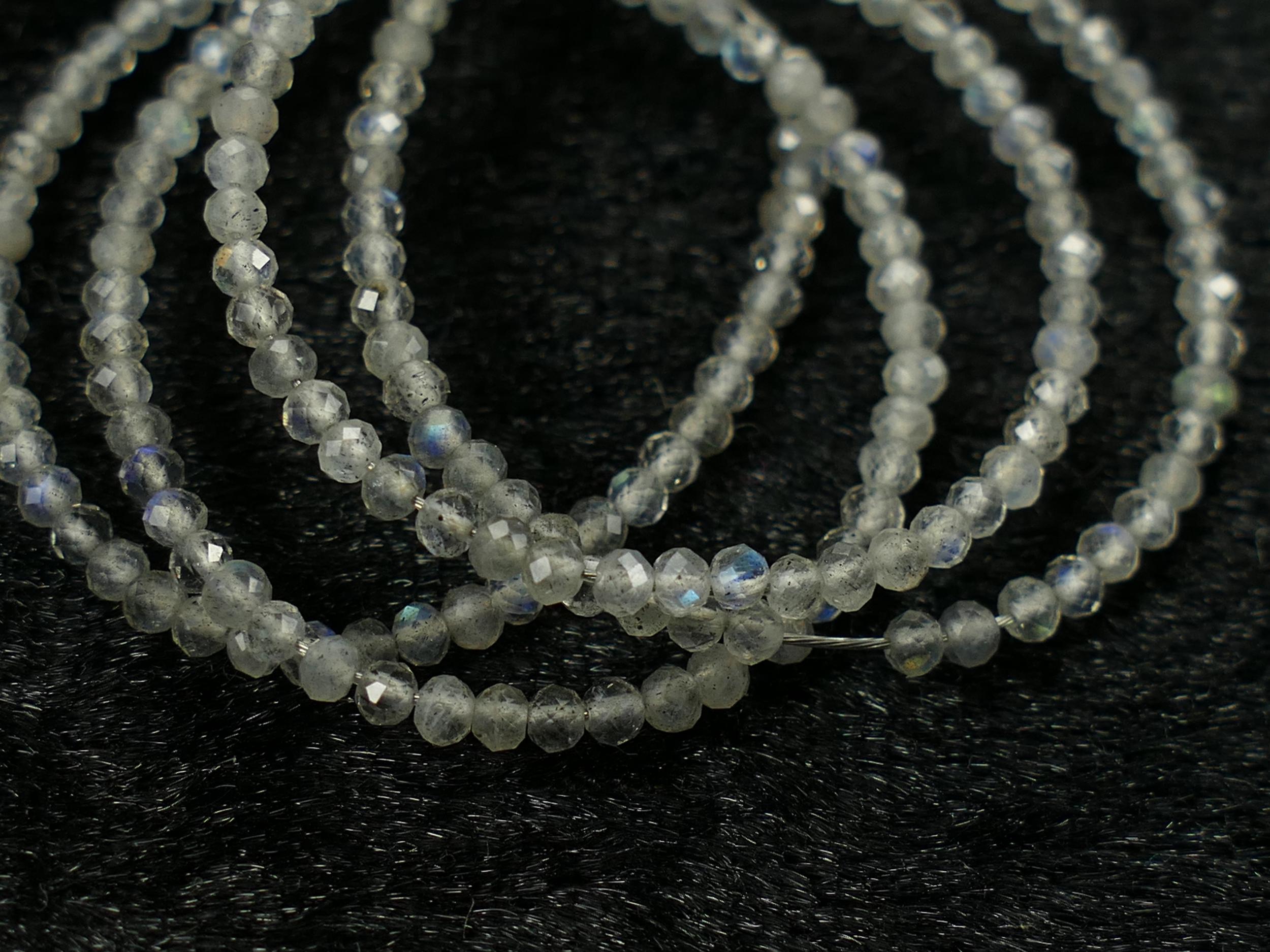 2.2mm Petite perles de Labradorite naturelle en micro rondelle facettée percée Madagascar x20cm (7.9inch) (#AC438)
