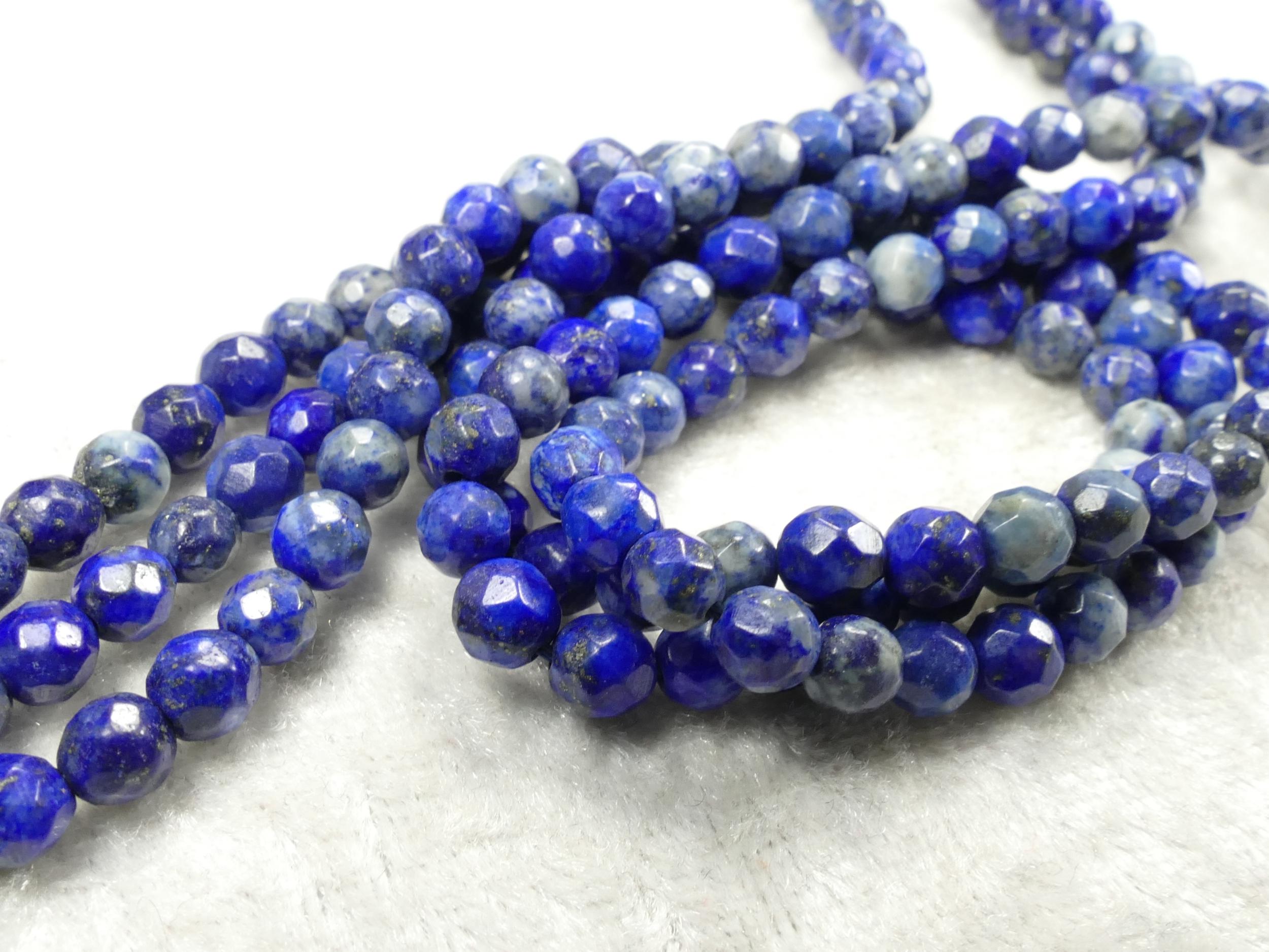 4.5/4.9mm Perle Lapis lazuli entièrement naturel en boule ronde facettée Afghanistan x20cm (7.8inch) (#AC710)