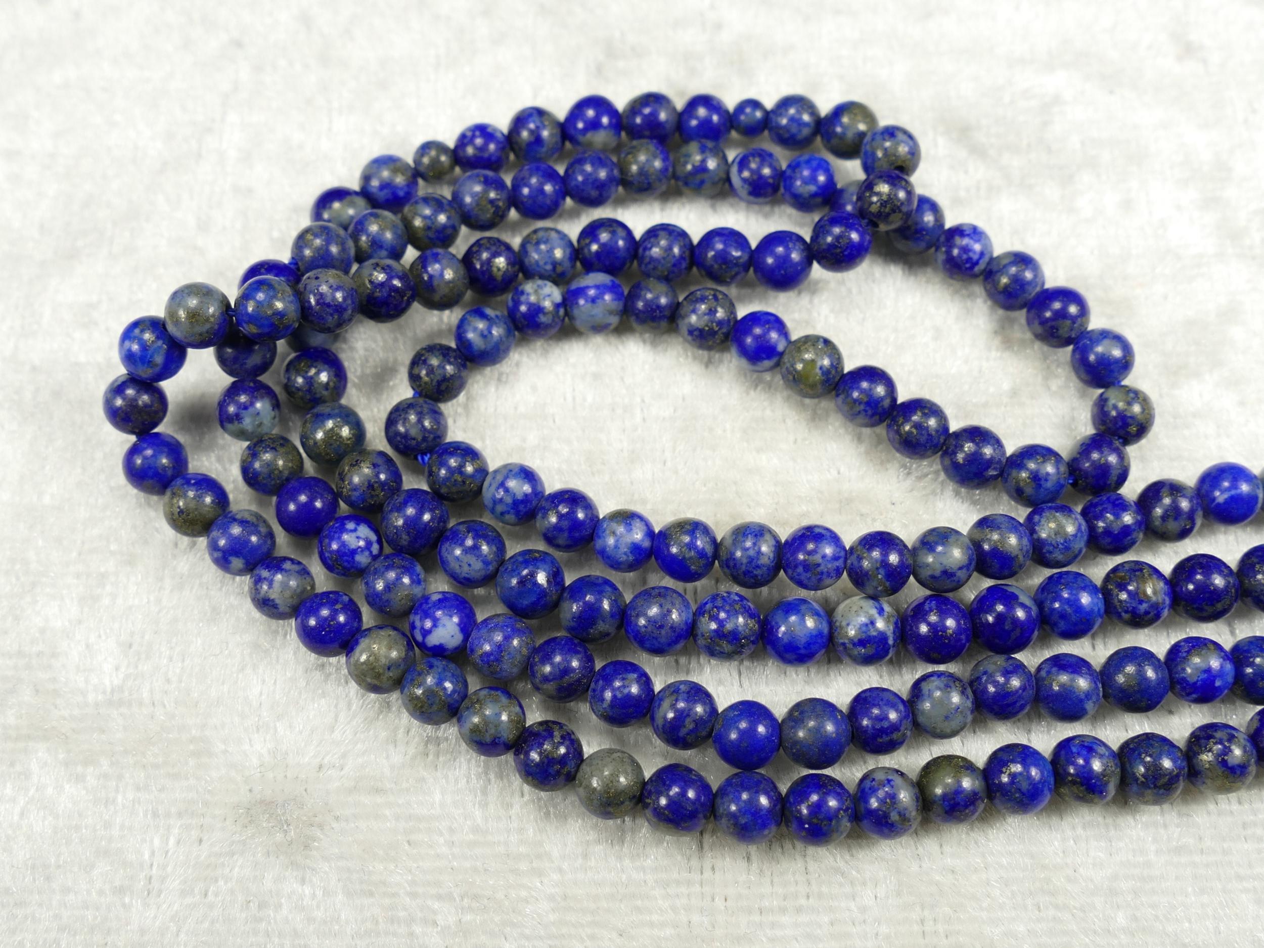 4/4.6mm Perles Lapis lazuli entièrement naturel en boule ronde lisse Afghanistan x20cm (7.8inch) (#AC649)
