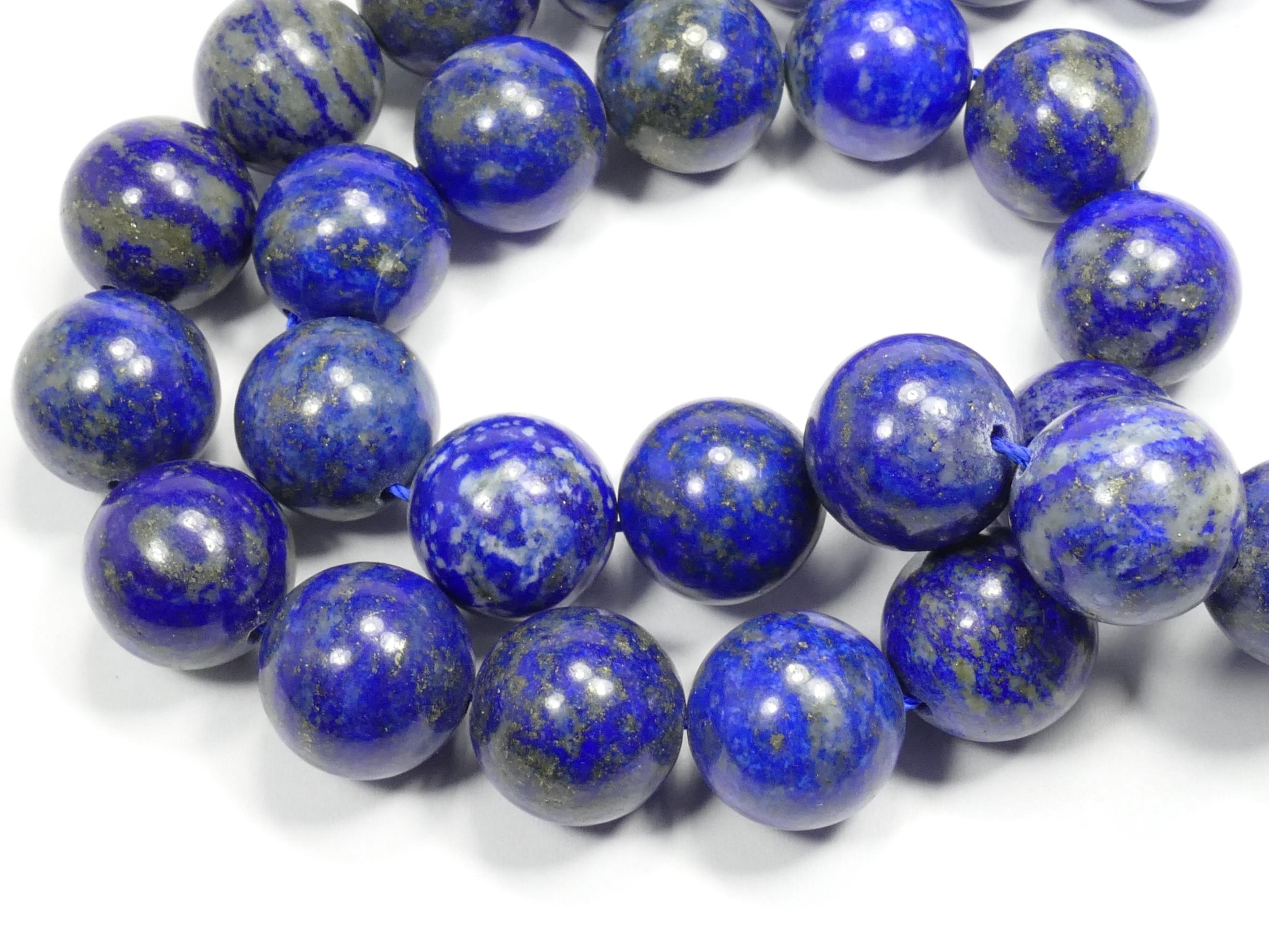 14mm Perles Lapis lazuli entièrement naturel en boule ronde lisse d\'Afghanistan x8 perles (#AC616)