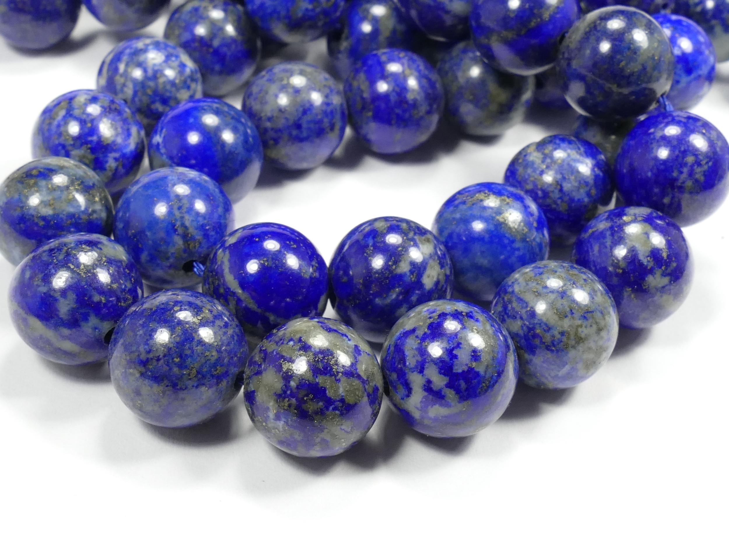 12mm Perles Lapis lazuli entièrement naturel en boule ronde lisse d\'Afghanistan x10 perles (#AC615)