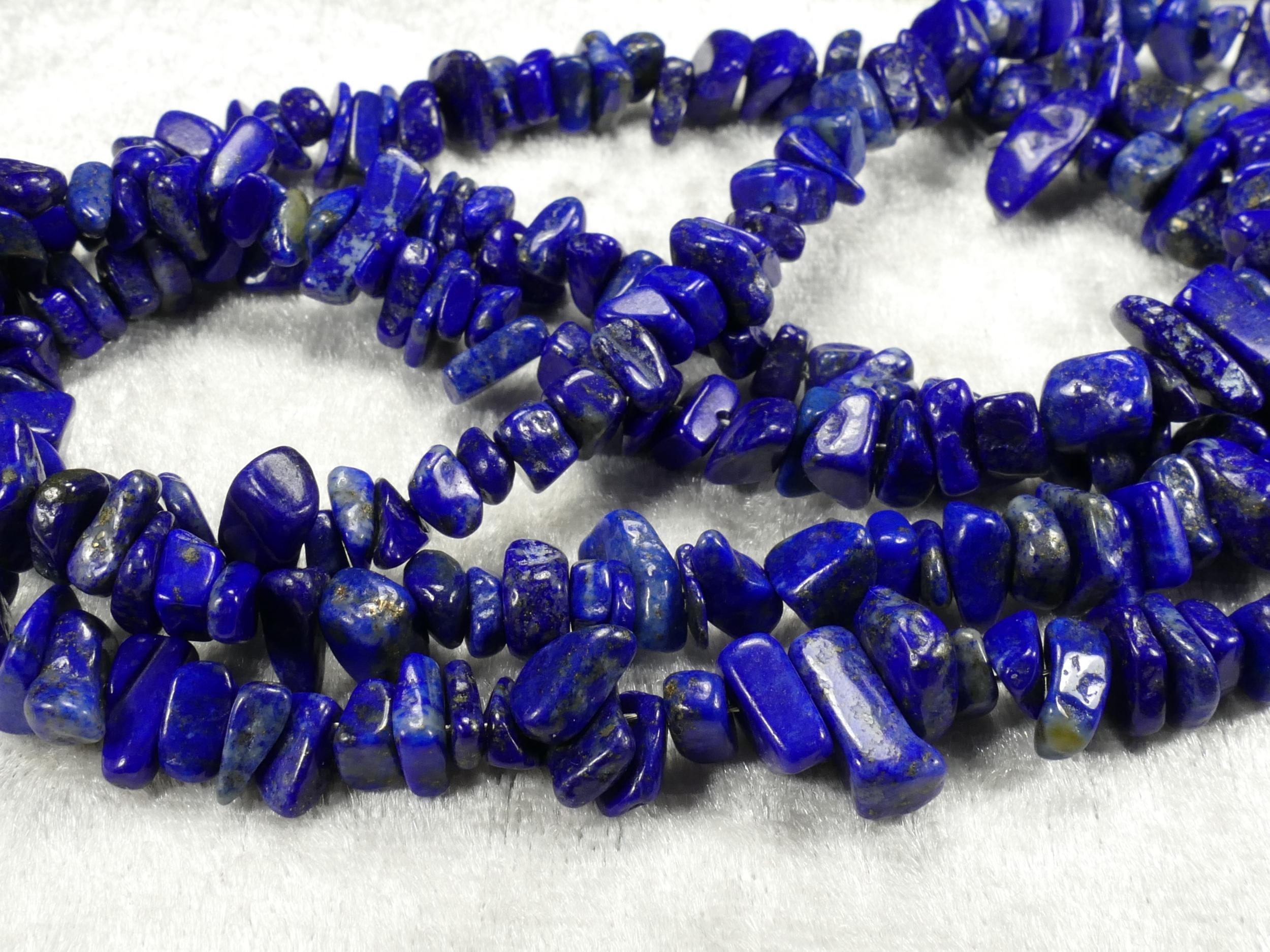 5/9mm Perle de Lapis Lazuli entièrement naturel brute roulée d\'Afghanistan x40cm (15.7inch) (#AC483)