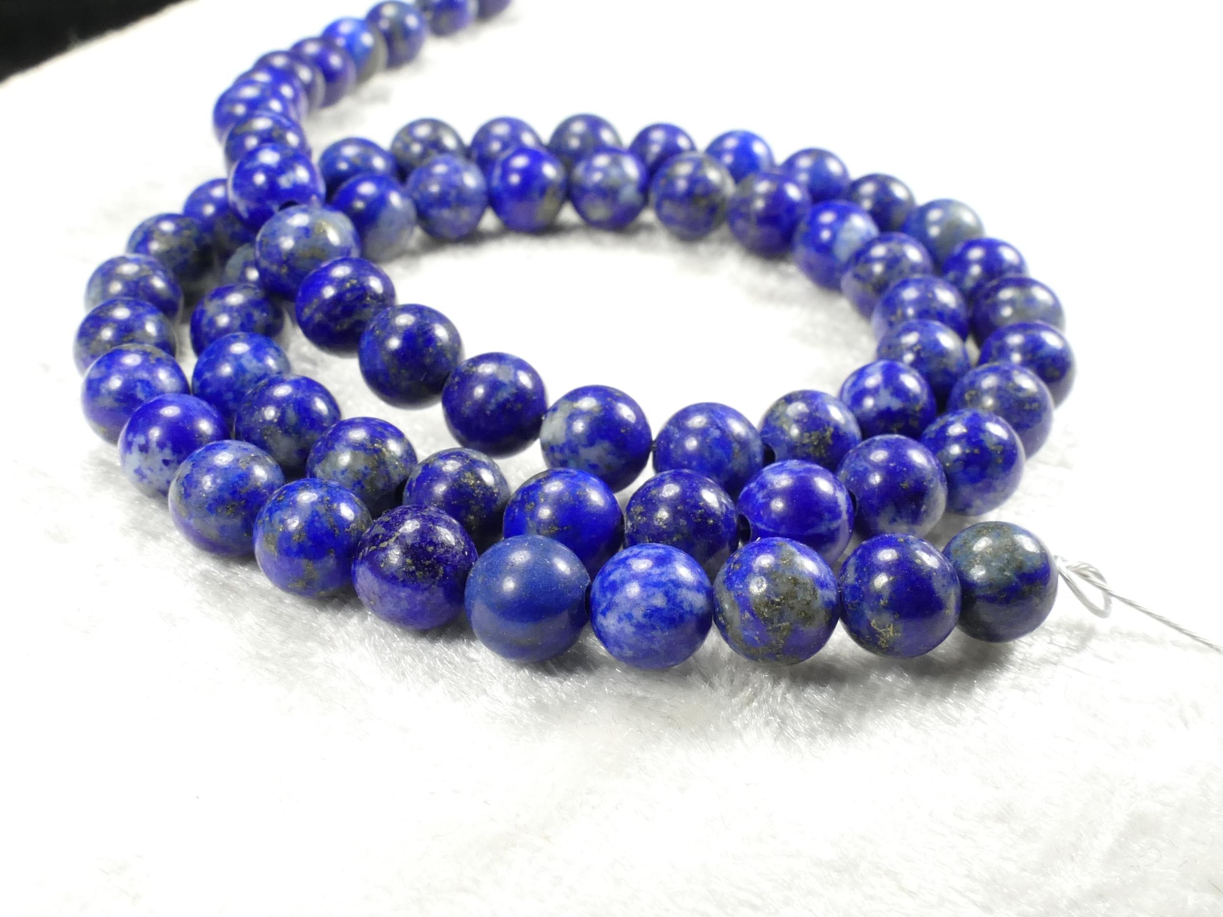 6mm Perles Lapis lazuli entièrement naturel en boule ronde lisse d\'Afghanistan x26pc (#AC506)