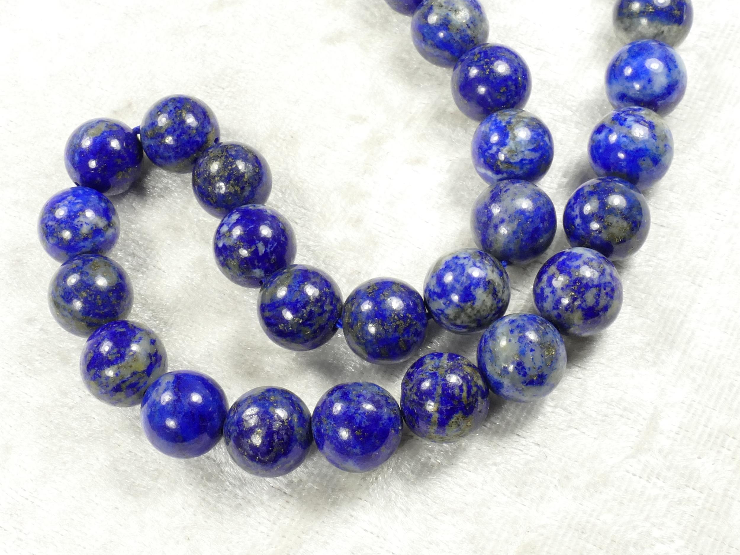 10mm x10pc perles Lapis lazuli entièrement naturel en boule ronde lisse d\'Afghanistan (#AC505)