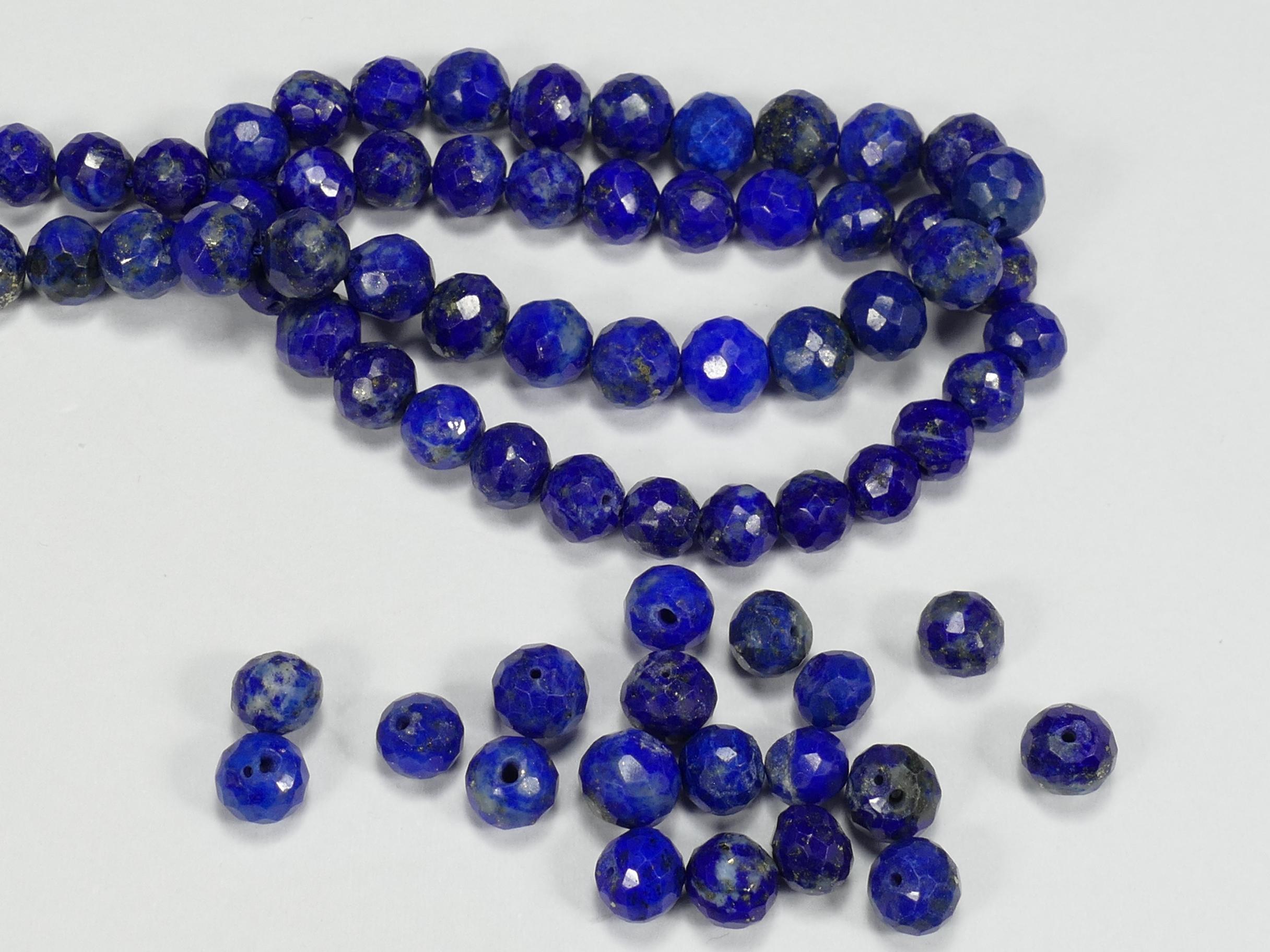 4.6/5.5mm x10 Perles de Lapis Lazuli entièrement naturel en boule facettée percée d\'Afghanistan (#AC80)