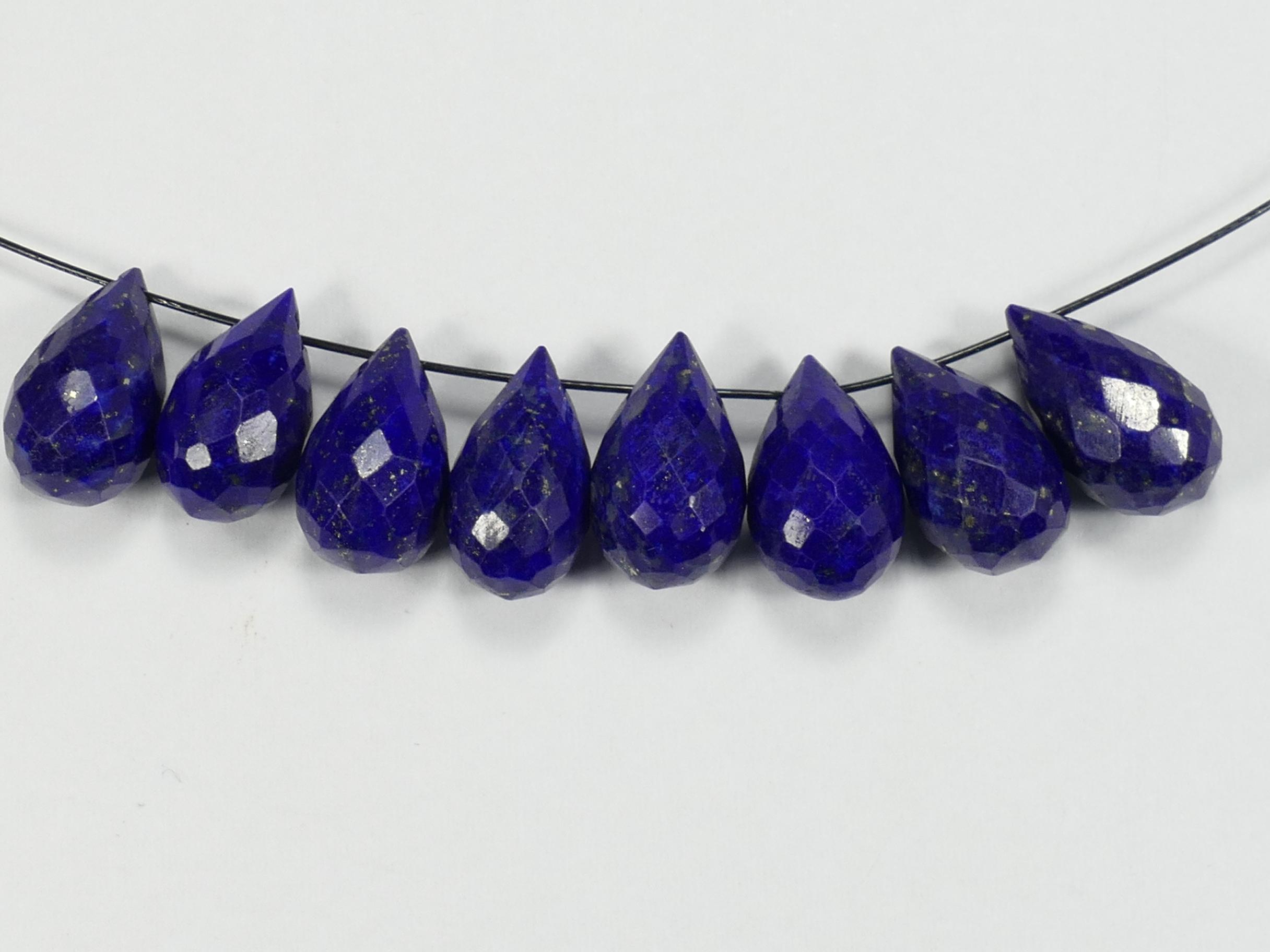 12.2/12.9mm x1 Perle de Lapis Lazuli précieux entièrement naturelle en briolette facettée percée d\'Afghanistan (#AC79)
